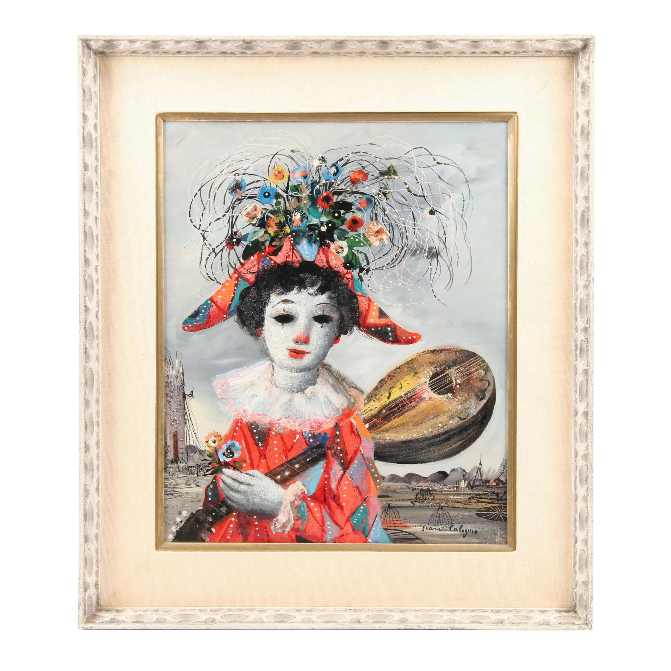 Jean Calogero Oil Painting of Carnival Figure with Mandolin