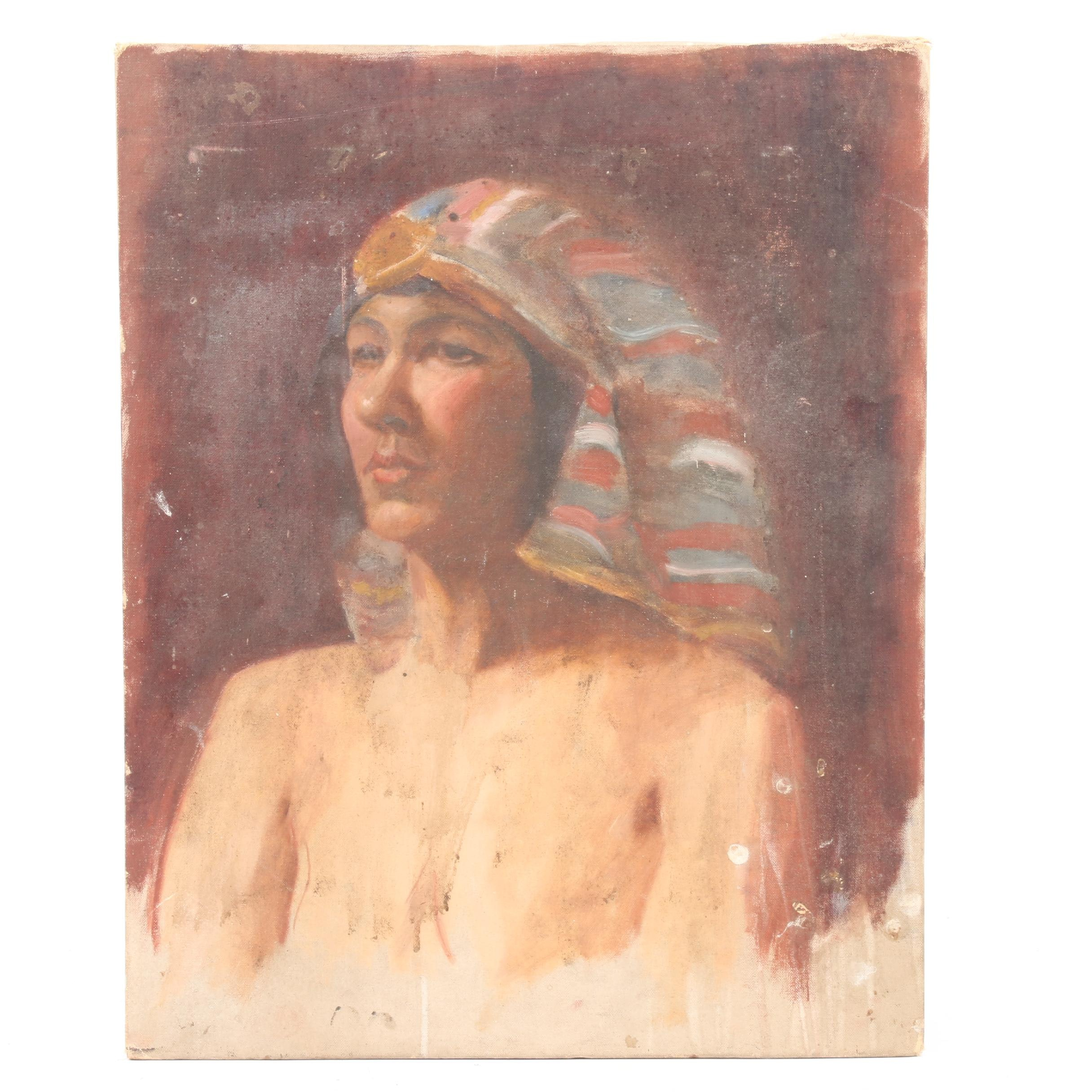 Oil Portrait Painting of Woman in Egyptian Style Headdress