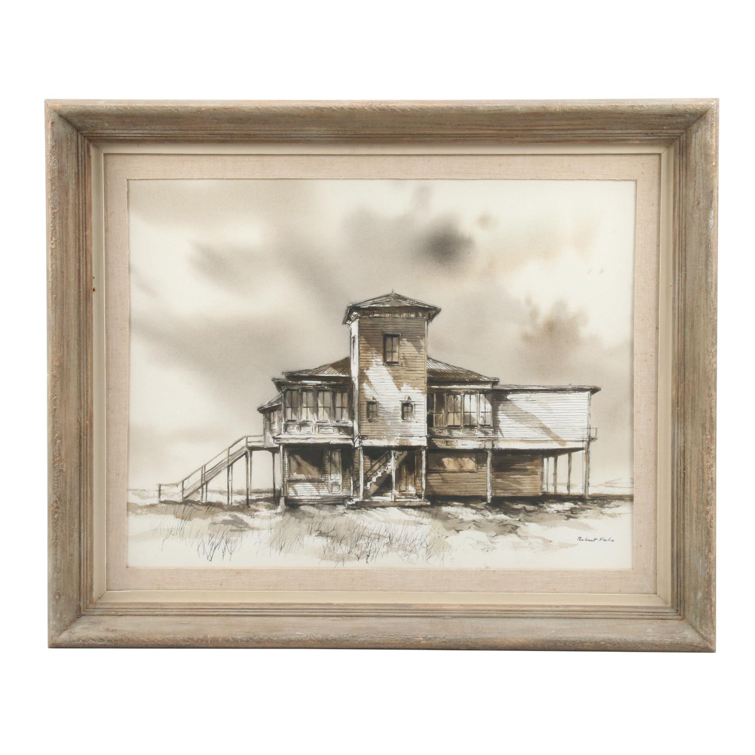 """Robert Fabe Mixed Media Painting """"The Tivoli"""""""
