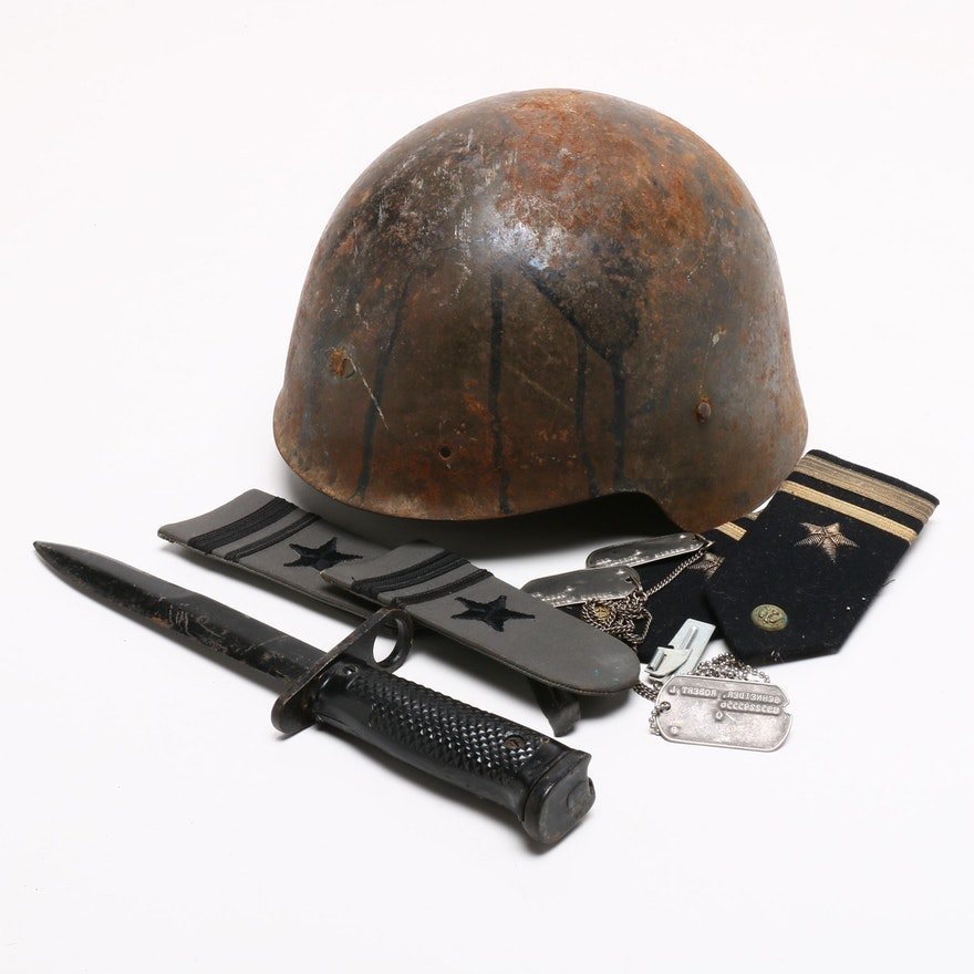 Military Style Helmet, Naval Officer's Shoulder Bars, Knife Bayonet, and More