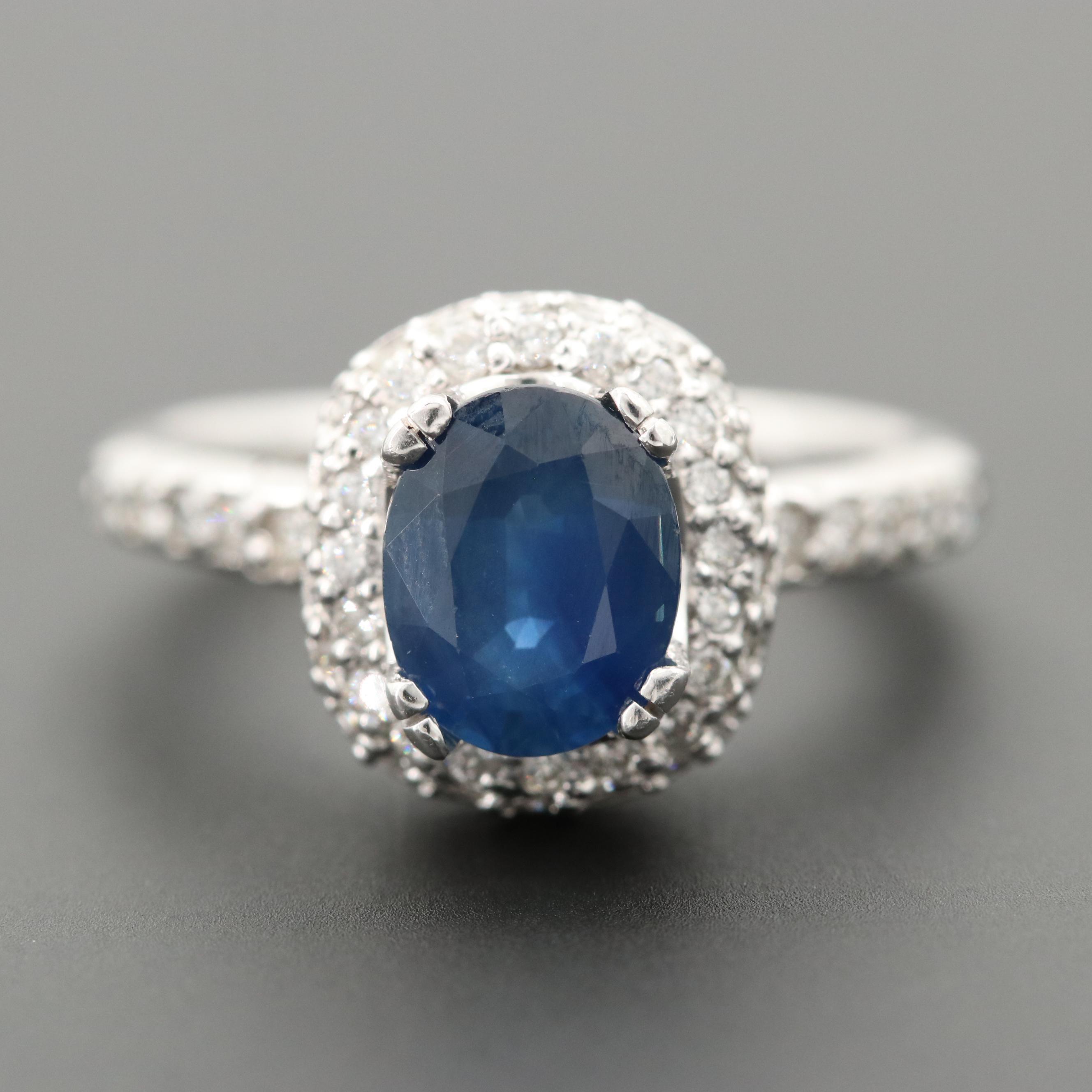 14K White Gold 1.67 CT Sapphire and 0.82 CTW Diamond Ring