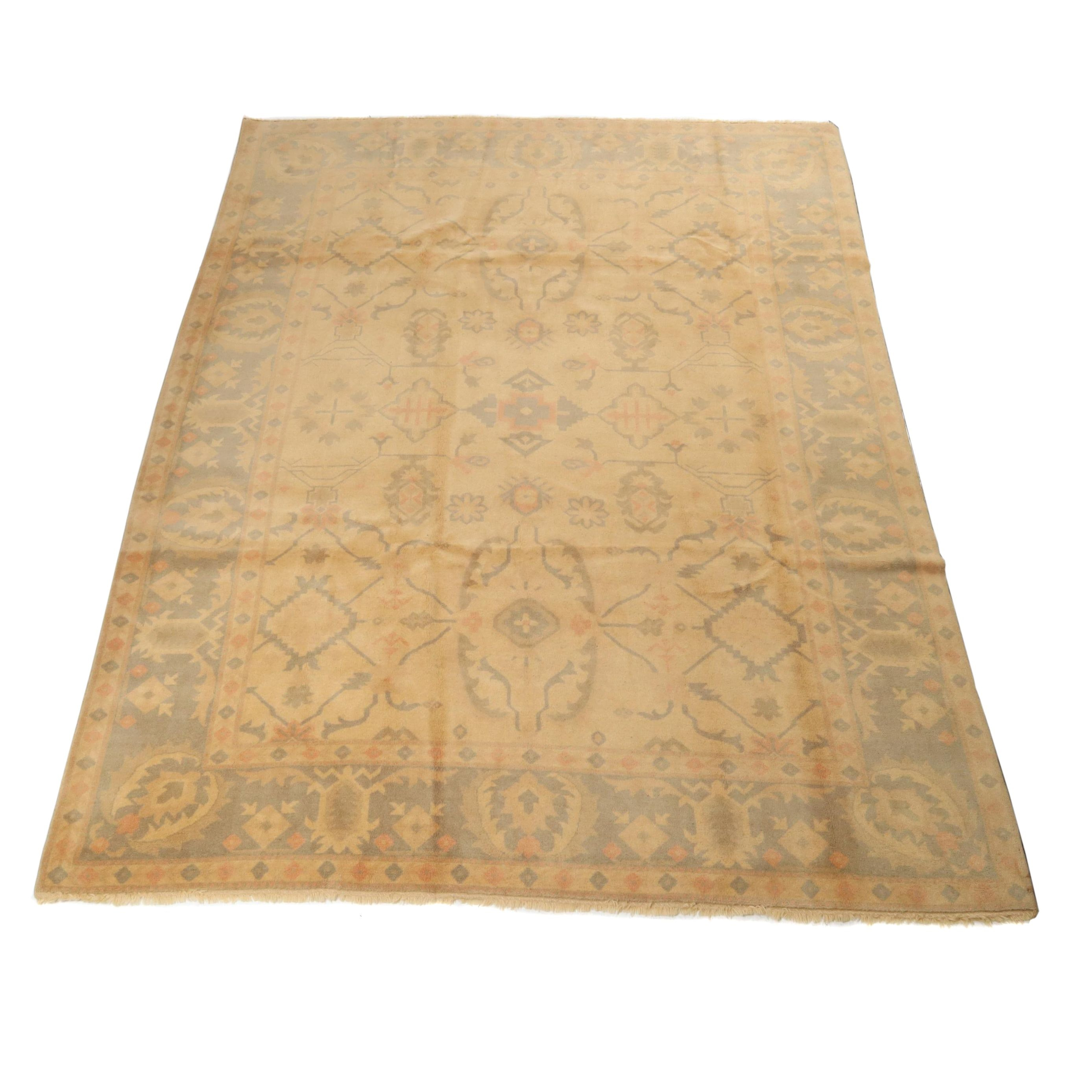 8' x 10.4' Hand-Knotted Turkish Oushak Rug, Circa 1980