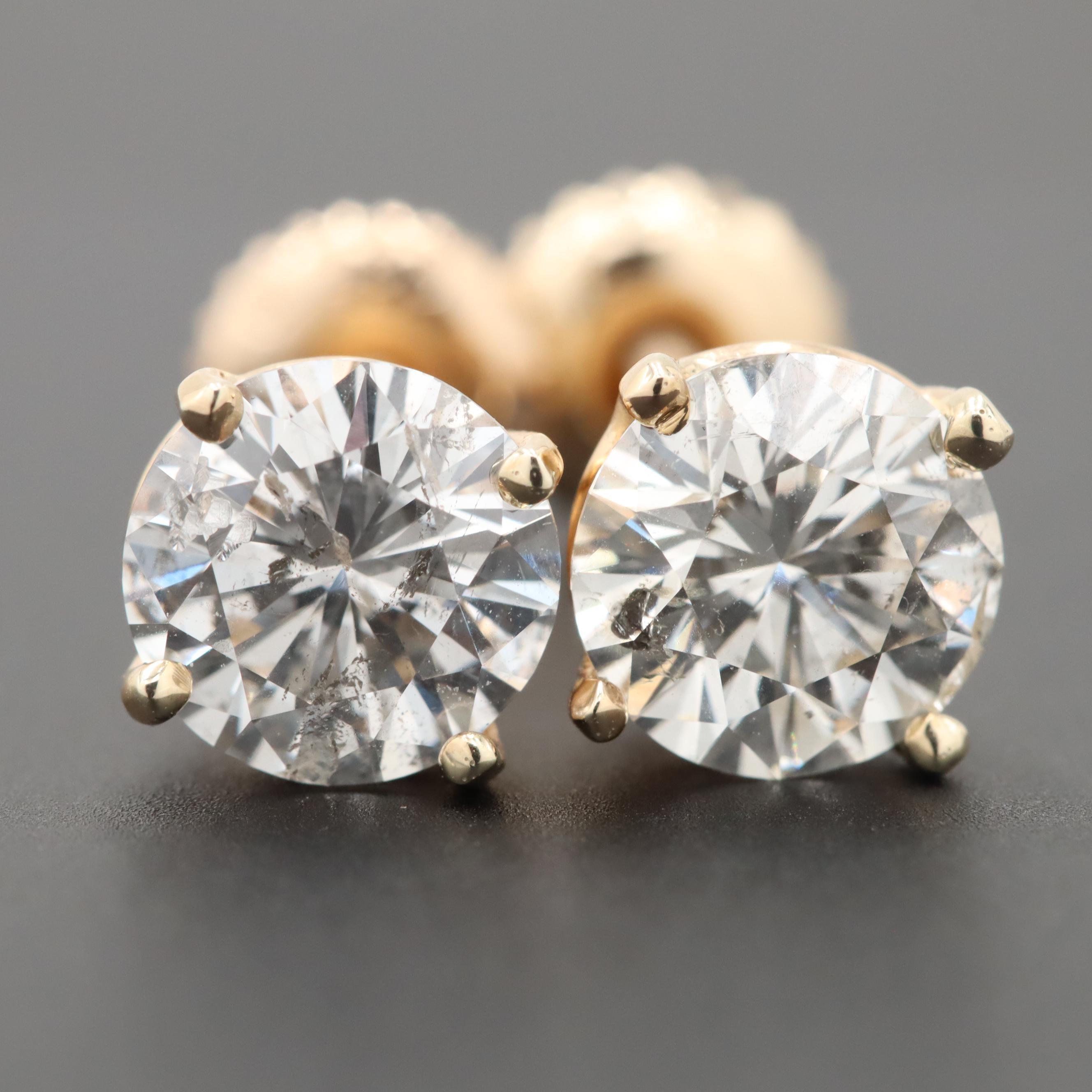 14K Yellow Gold 2.33 CTW Diamond Stud Earring