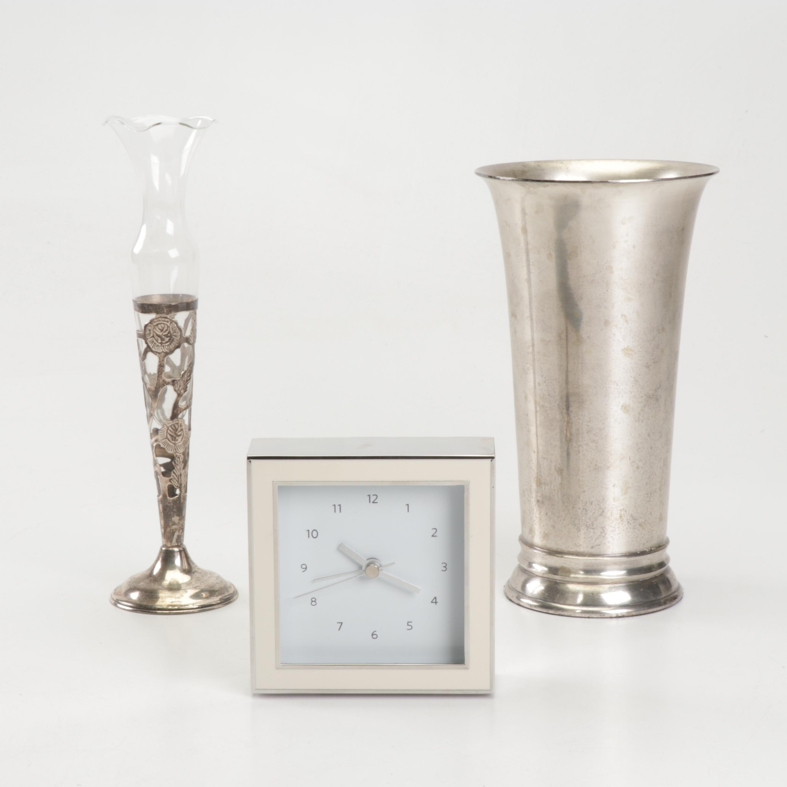 Sterling and Glass Vase with Modern Clock and Restoration Hardware Wine Cooler