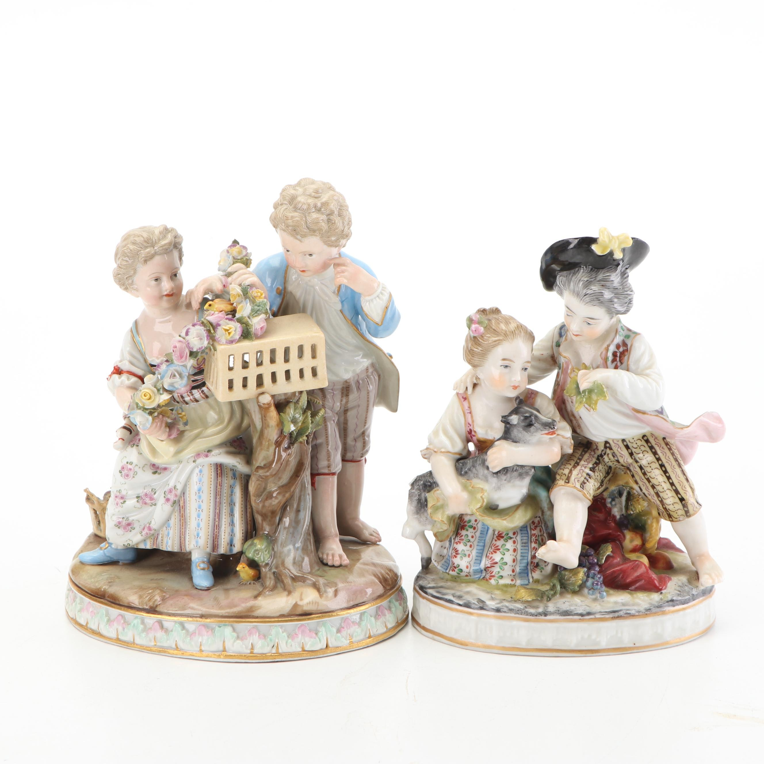 Porcelain Figurines of Young Couples Featuring Meissen