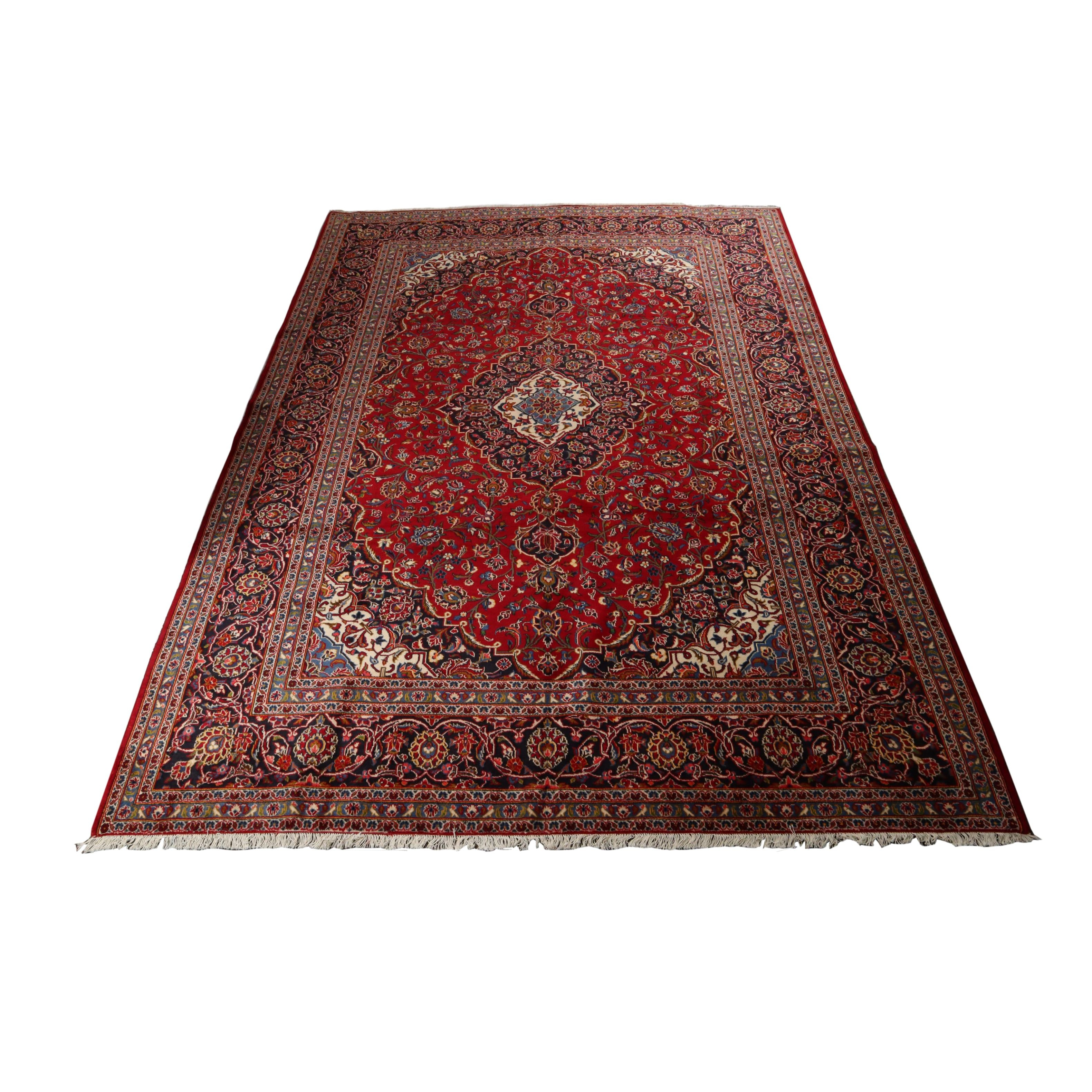9.9' x 13.5' Hand-Knotted Persian Kashan Rug, Circa 1970s