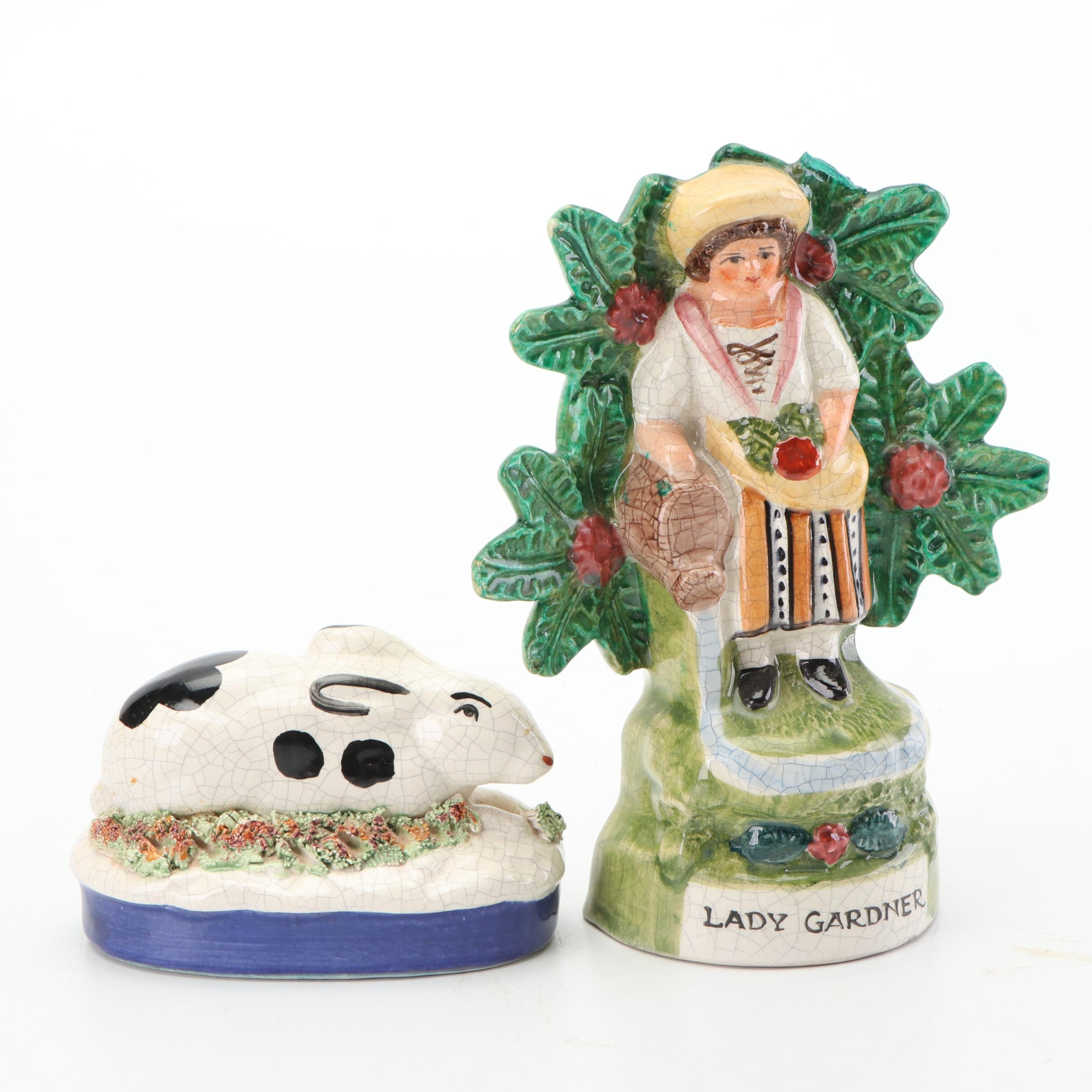 """Staffordshire Style Figurines Including """"Lady Gardner"""""""