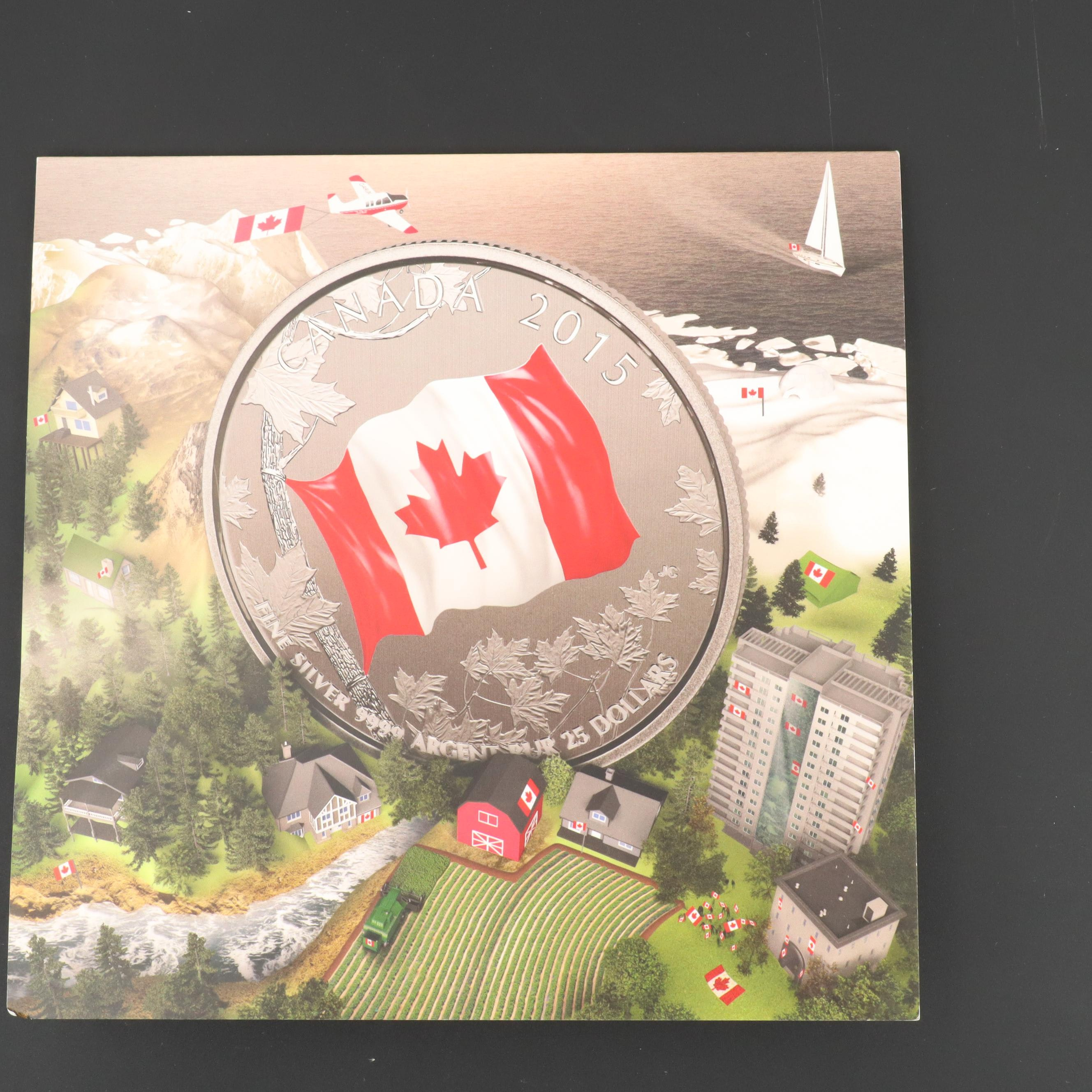 Three 2015 Canadian Flag $25 Fine Silver Commemorative Coins