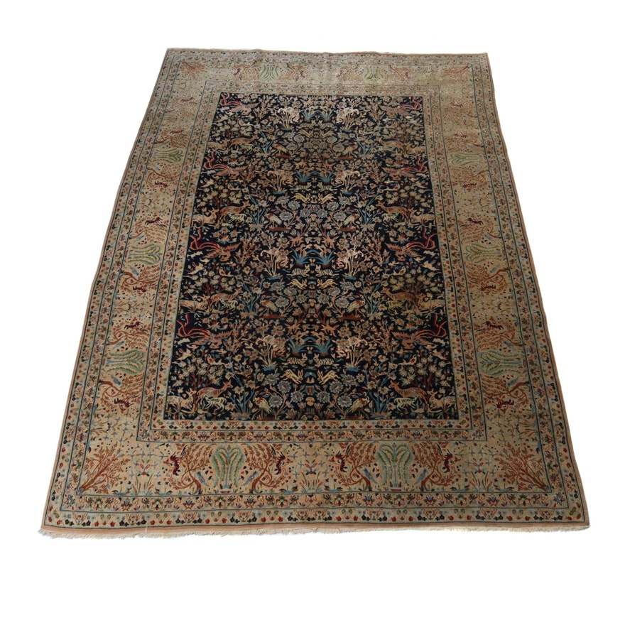 7.2' x 10.6' Hand-Knotted Persian Nain Silk and Wool Pictorial Rug, Circa 1970s