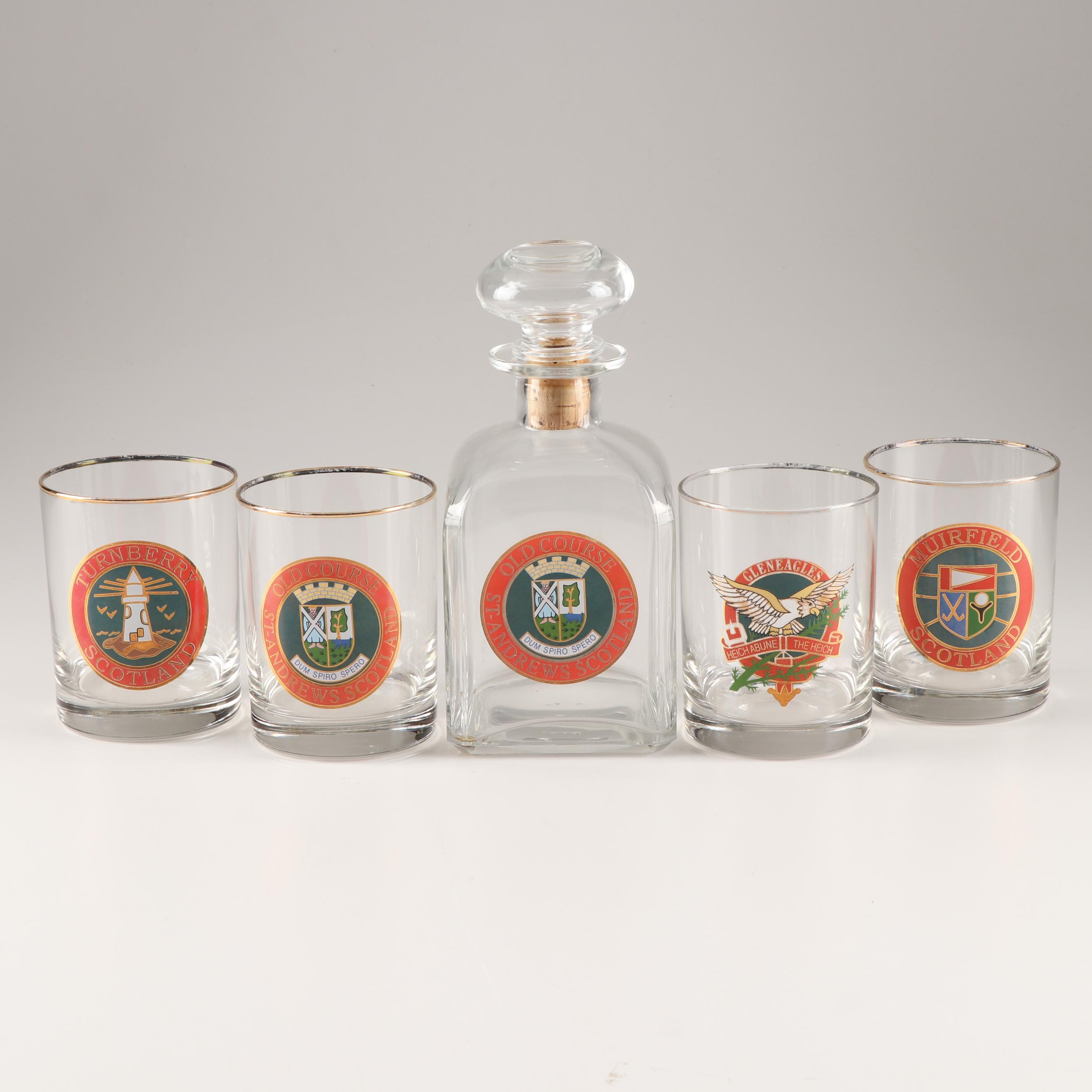 Muirfield Golf Club Whiskey Decanter and Glasses