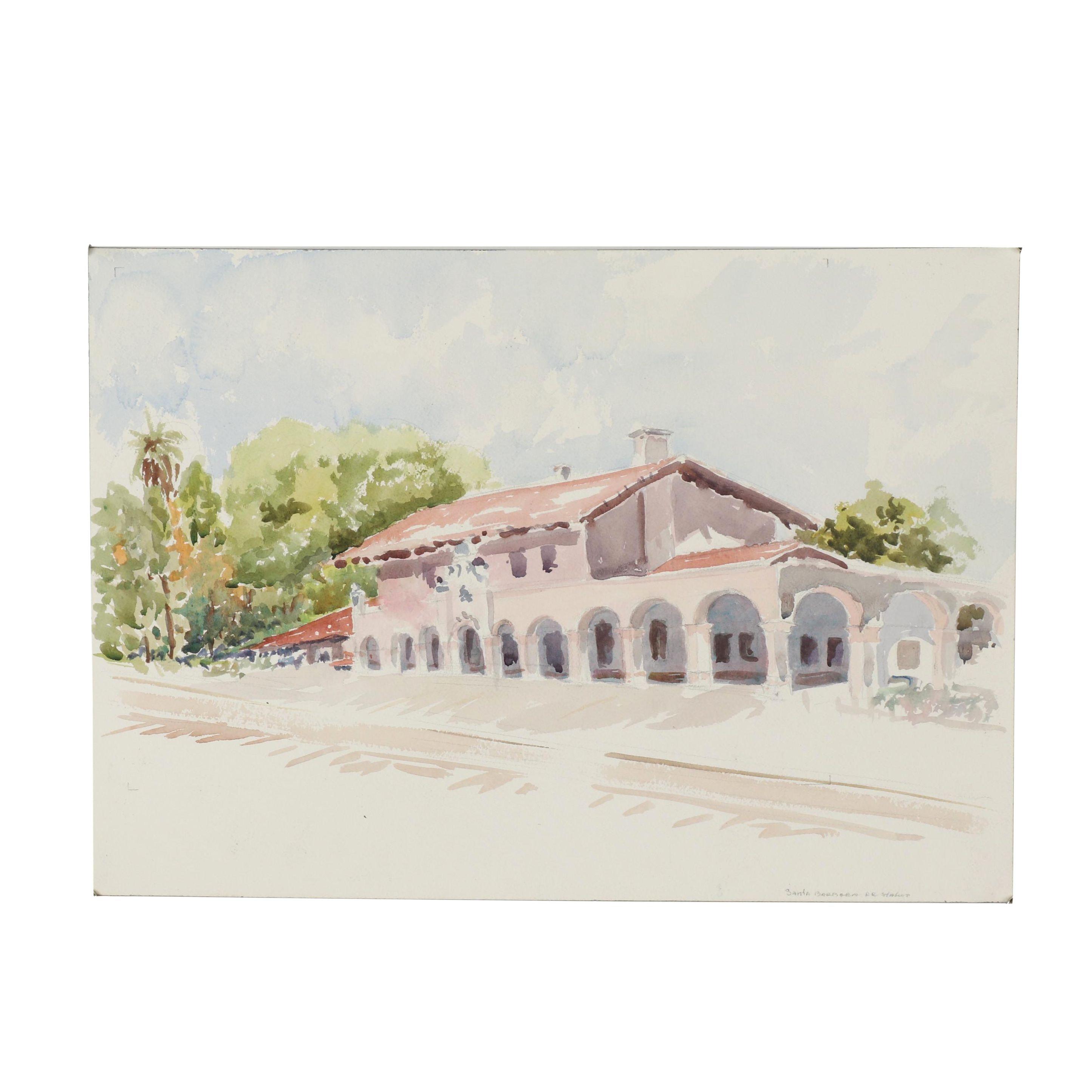 "21st Century Watercolor Painting ""Santa Barbara RR Station"""