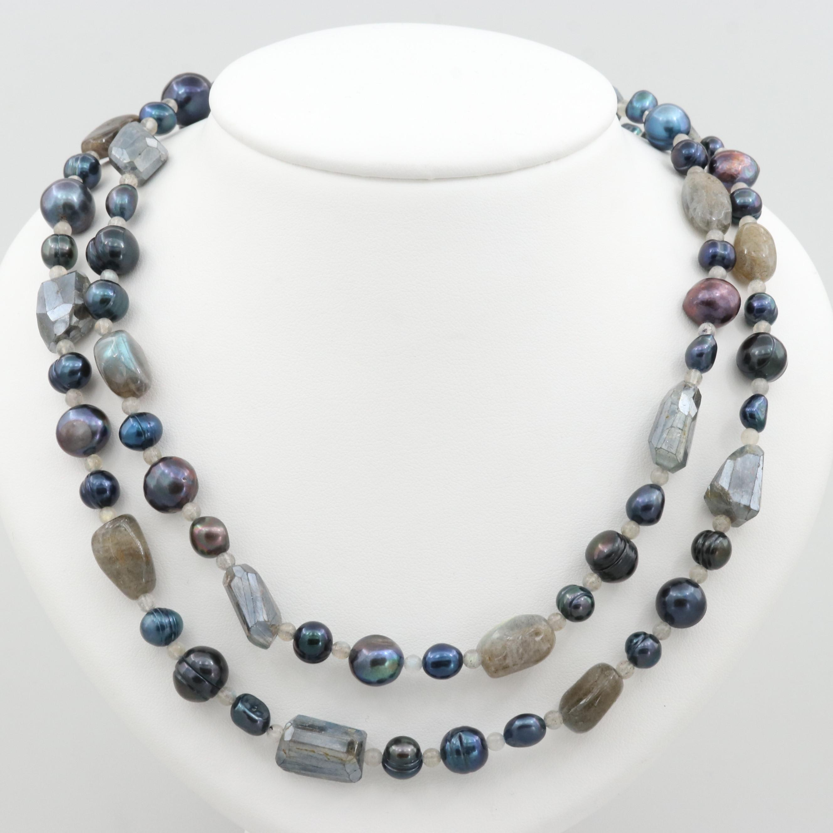 14K White Gold Labradorite and Cultured Pearl Beaded Necklace