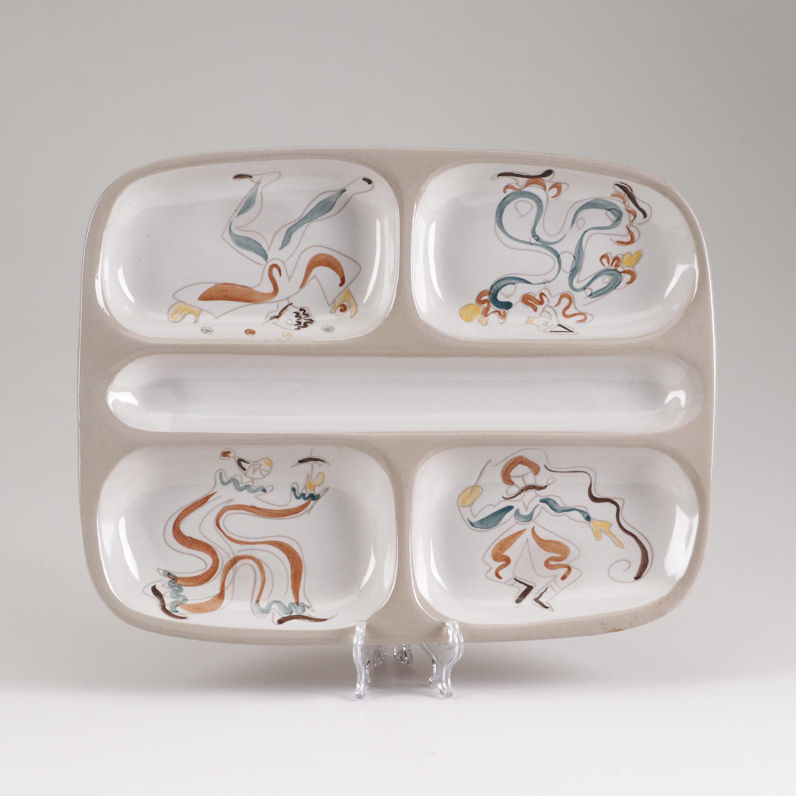 """Ernest Sohn for Glidden """"Circus"""" Series Stoneware Divided Appetizer Platter"""