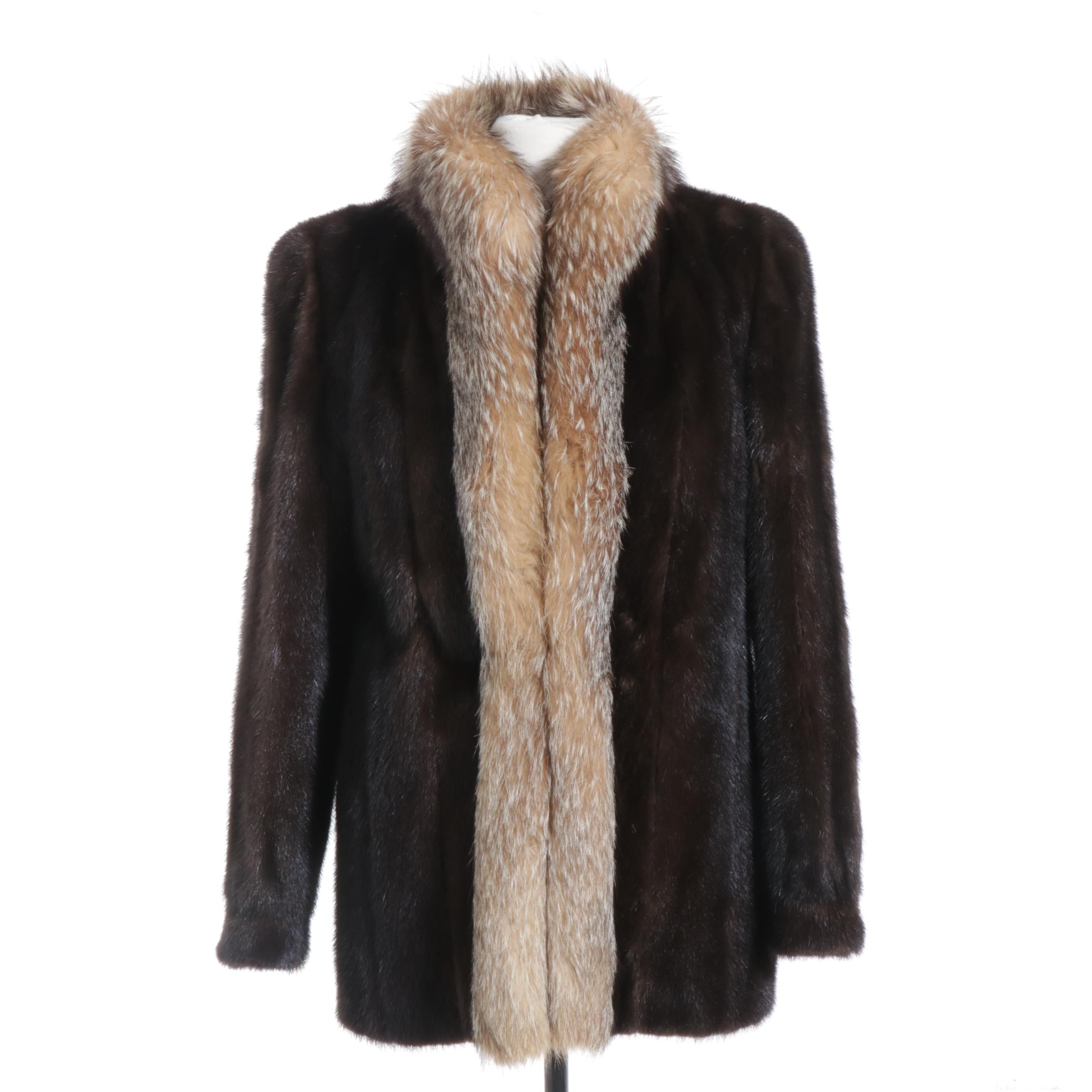 Mahogany Mink Fur Coat with Crystal Fox Fur Tuxedo Collar