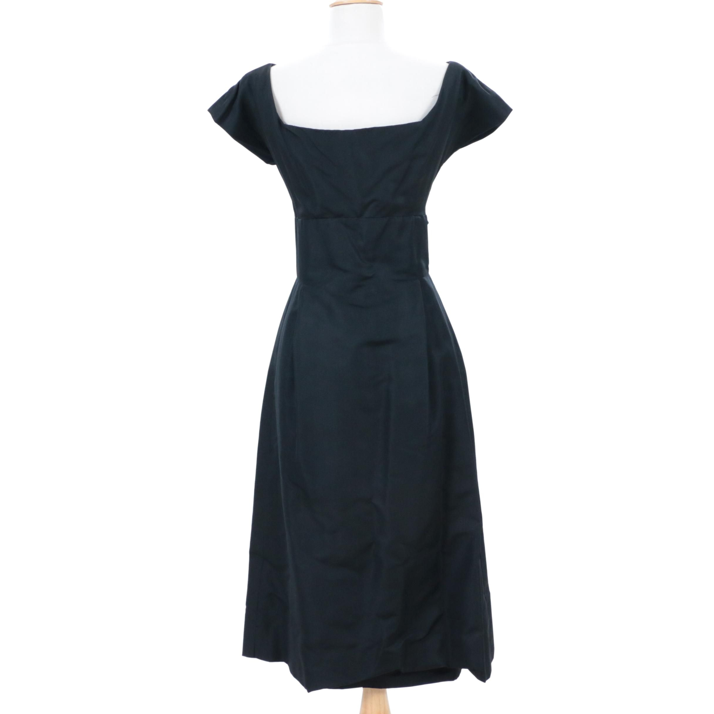 Christian Dior New York Black Grosgrain Silk Cocktail Dress, 1950s Vintage