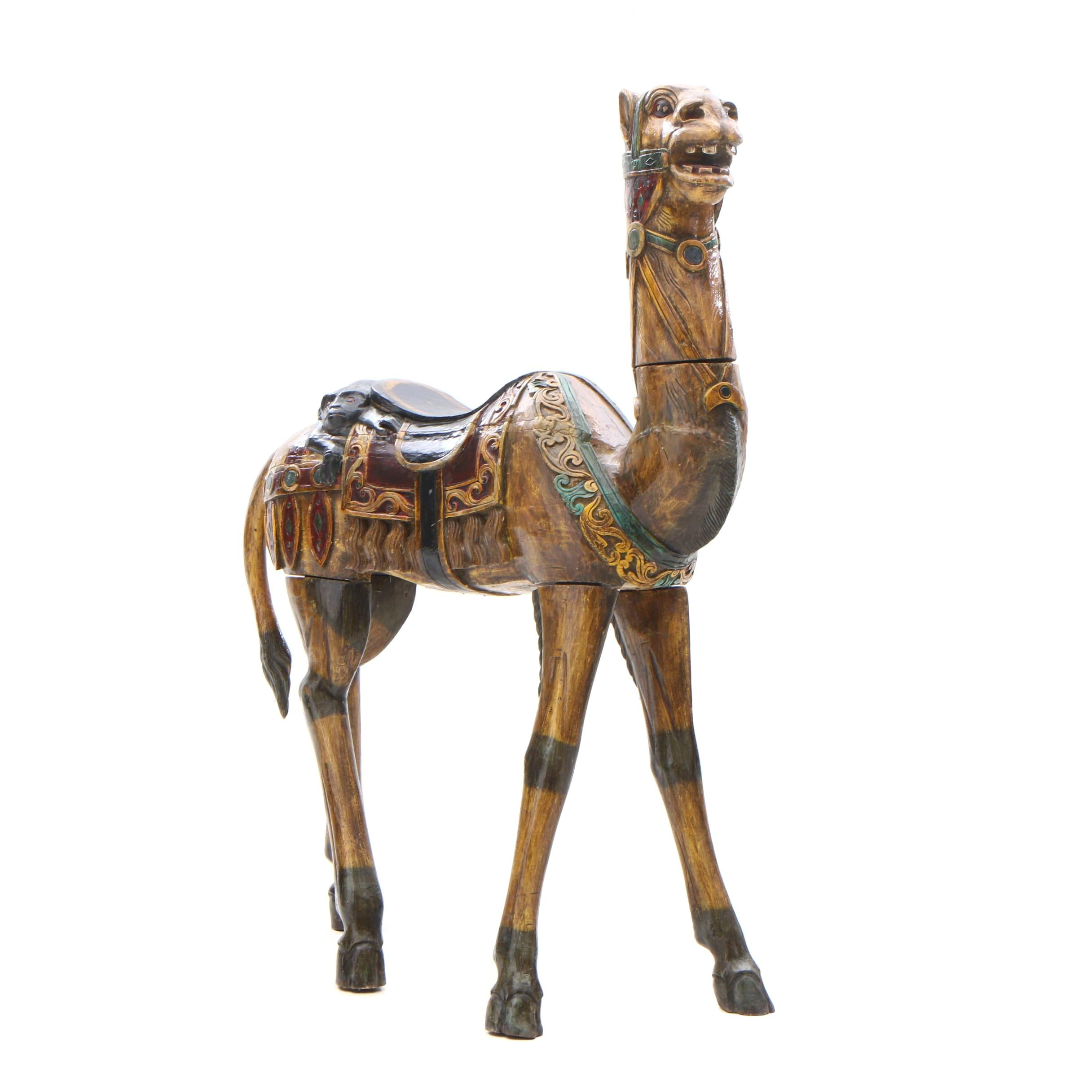 Contemporary Chinese Carved Wood and Polychromed Camel Figure