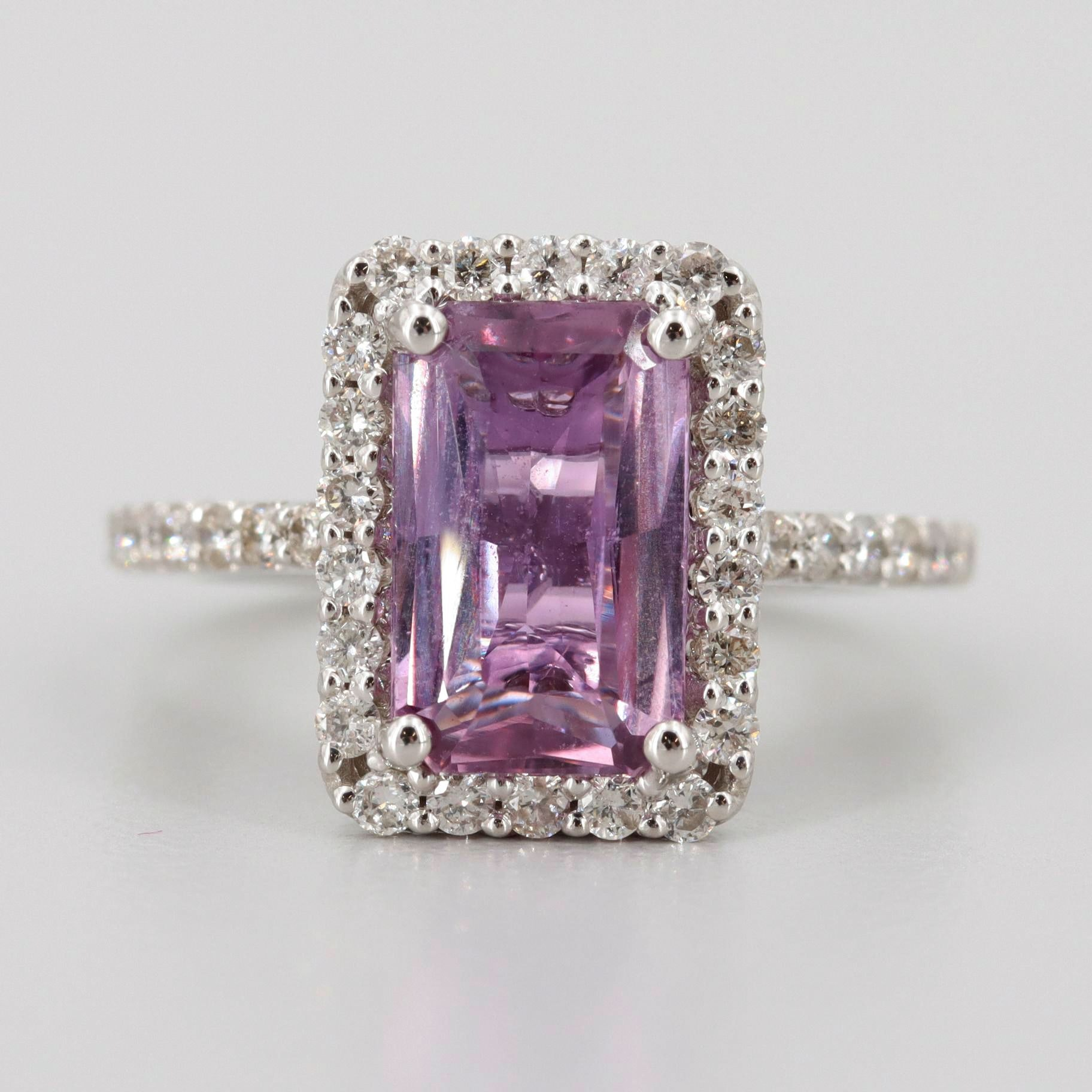 18K White Gold Pink Sapphire and Diamond Ring with GIA Report
