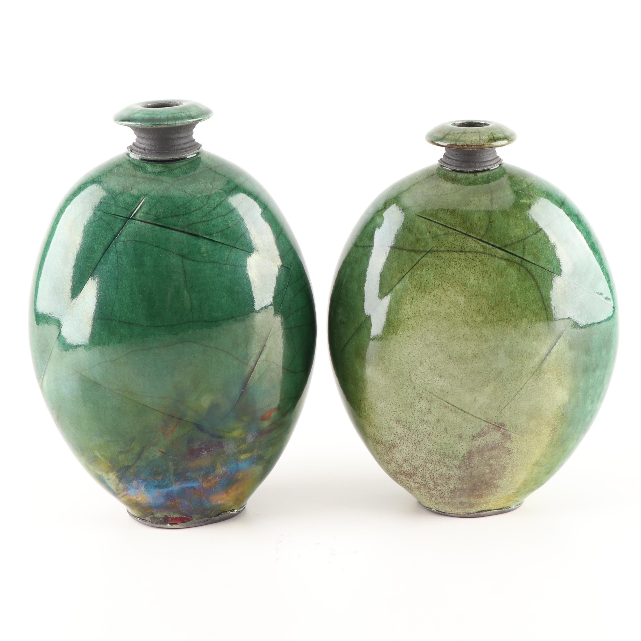 "Joe Winter ""Flounder"" Green Raku Pottery Vases"