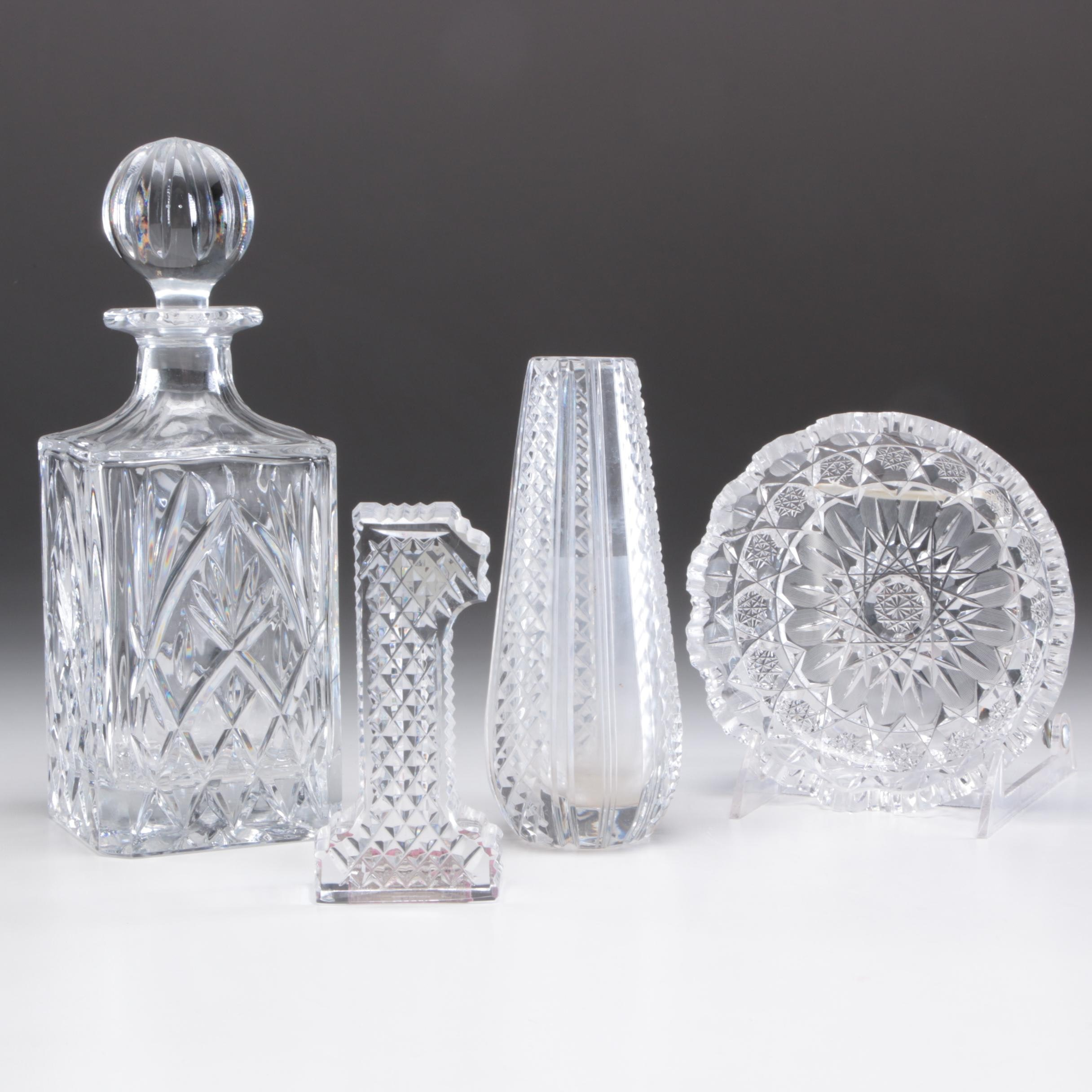 "Crystal Decor and Decanter Including Waterford ""1"" Paperweight"