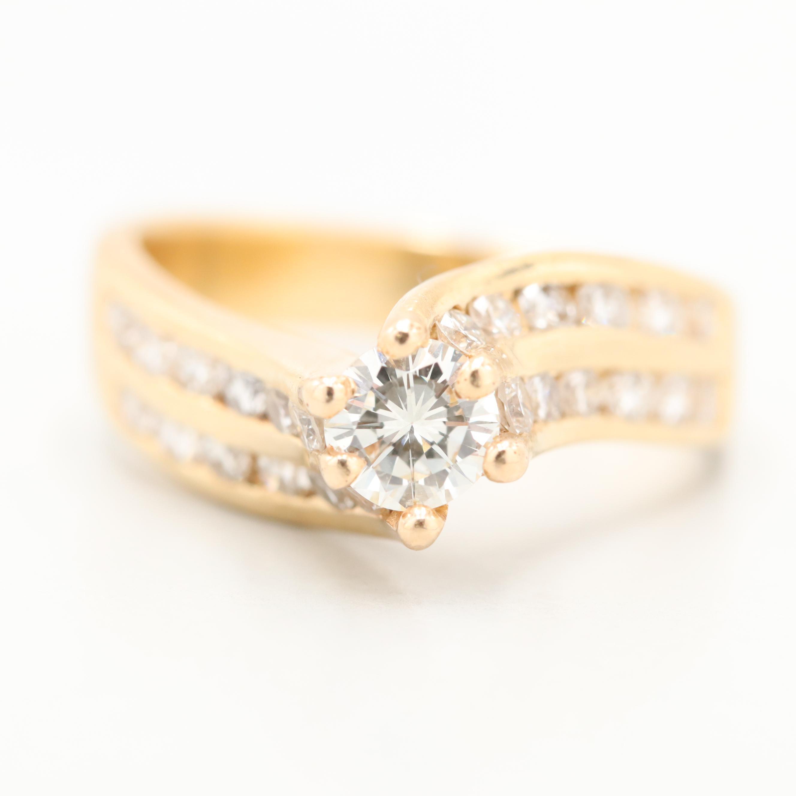 14K Yellow Gold 1.06 CTW Diamond Ring