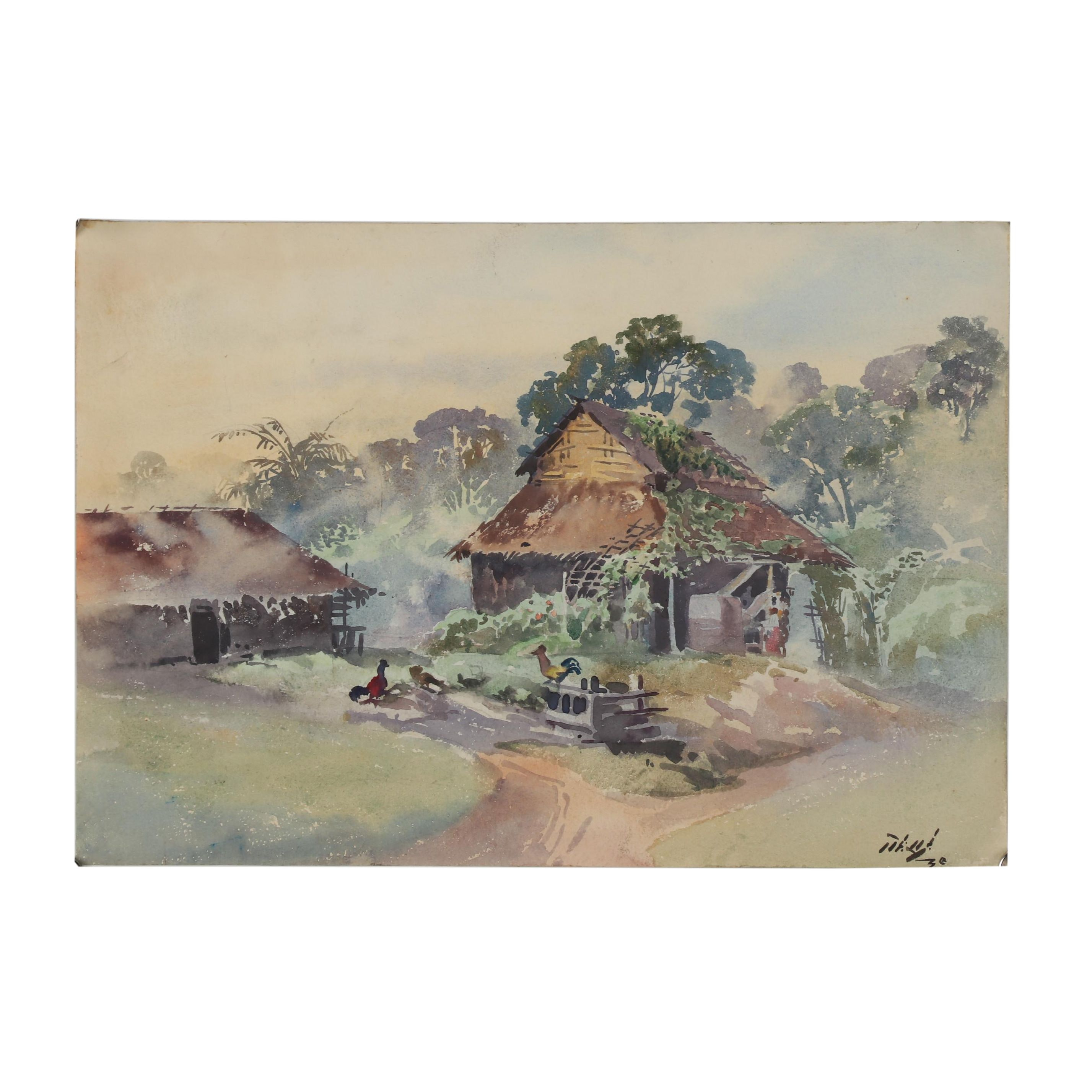 20th Century Watercolor Painting of a Farm