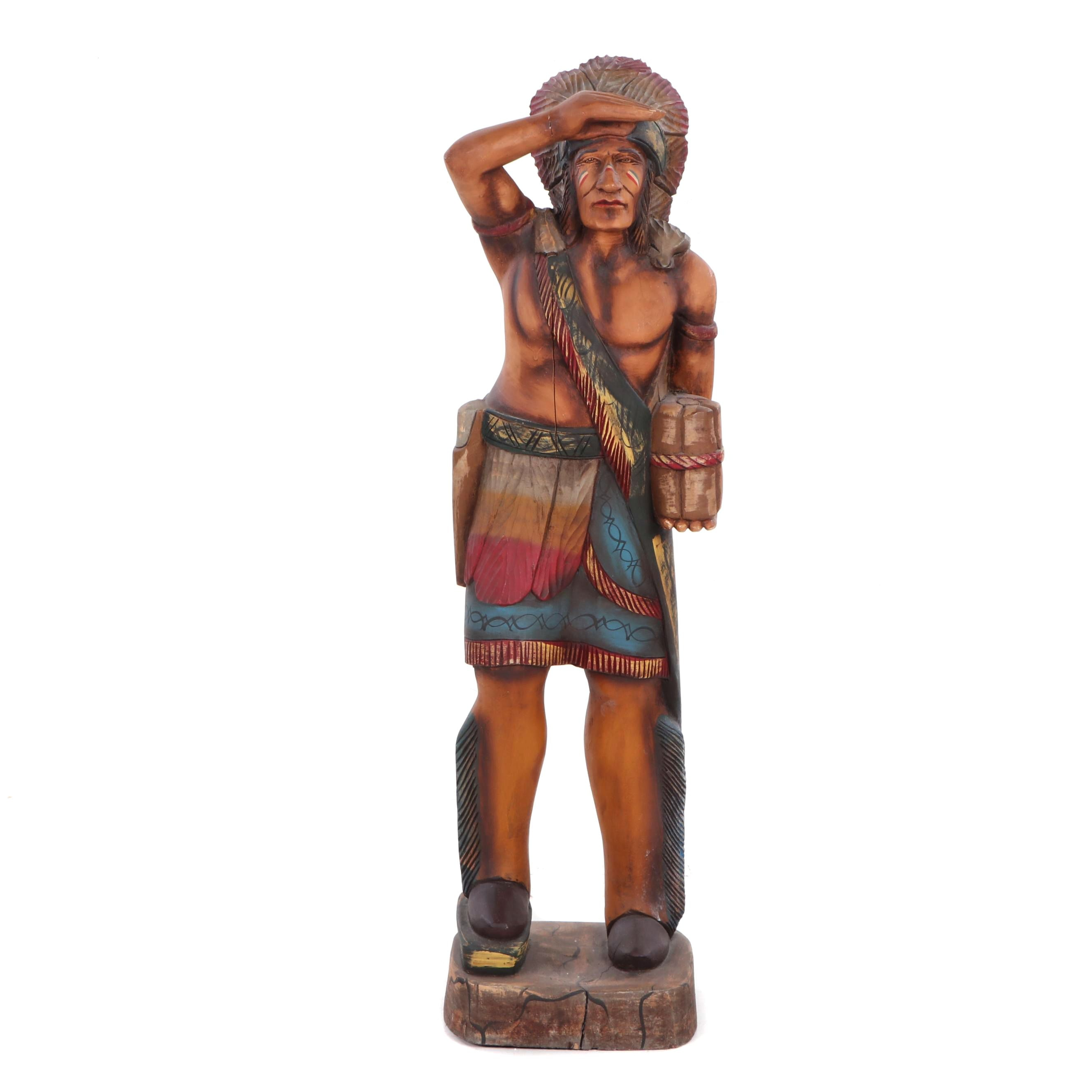 Polychrome and Carved Wood Sculpture of Native American