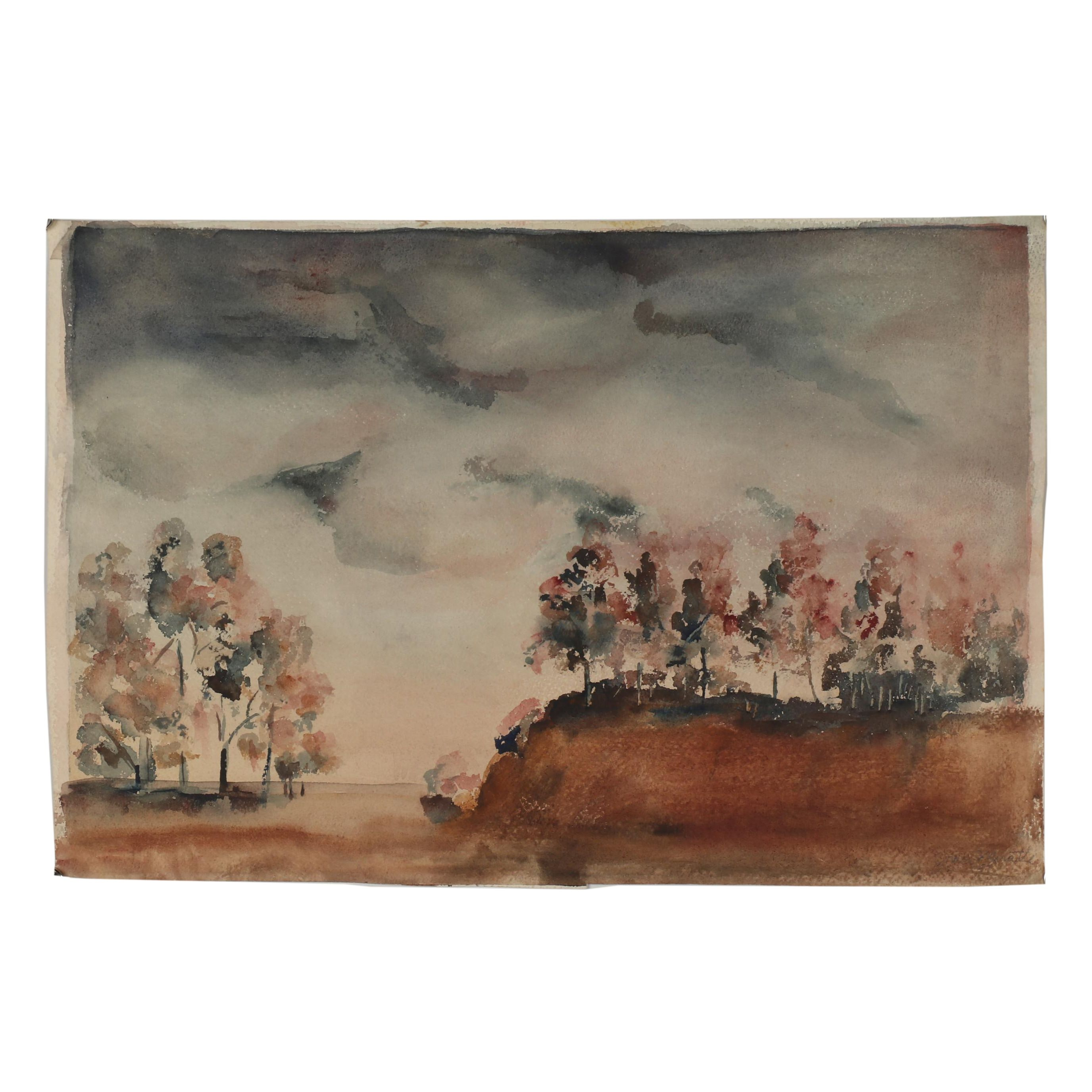 Mid 20th Century Misty Landscape Watercolor Painting