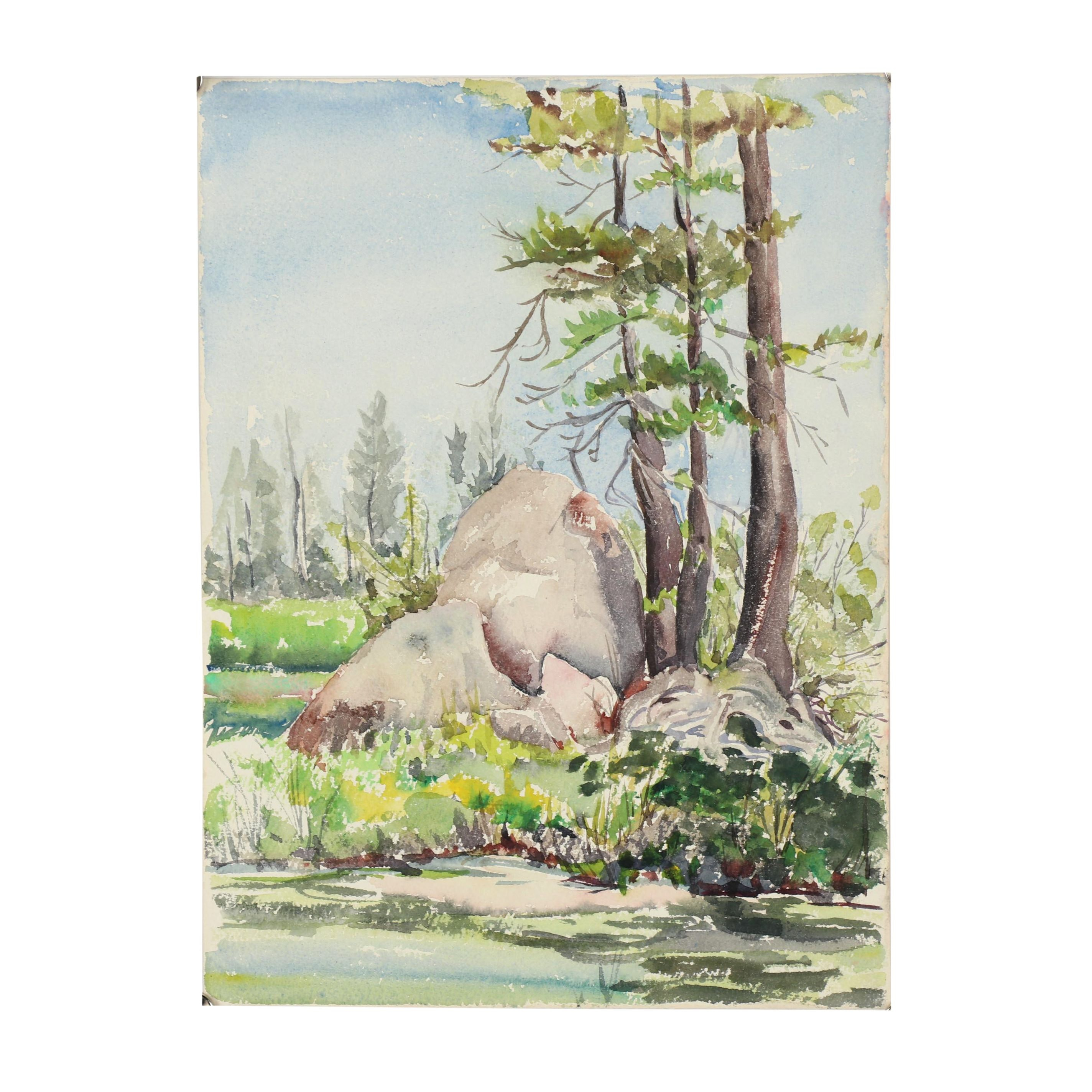 Late 20th Century Landscape Watercolor Painting