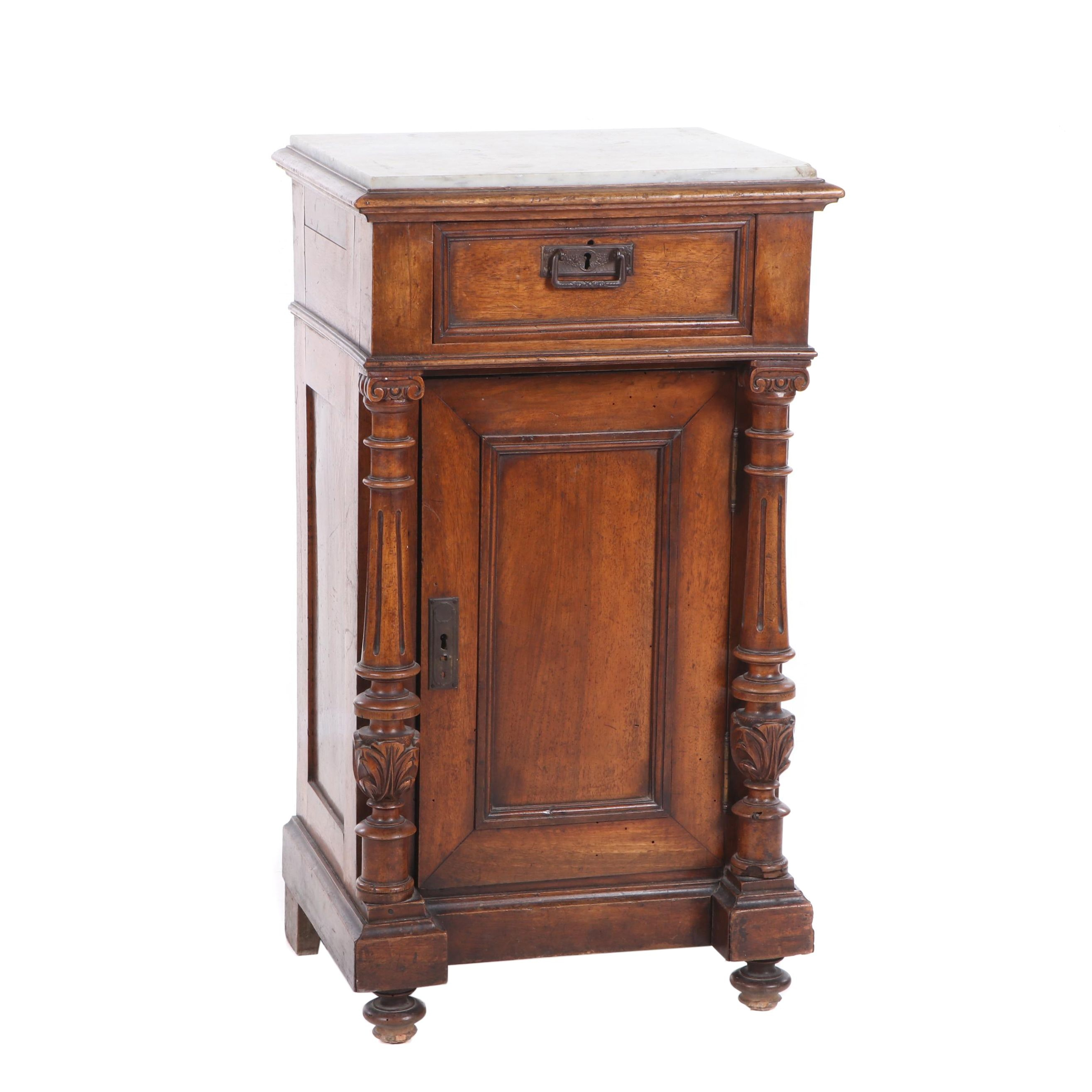 Renaissance Revival Walnut and Marble Cabinet, Mid 19th Century