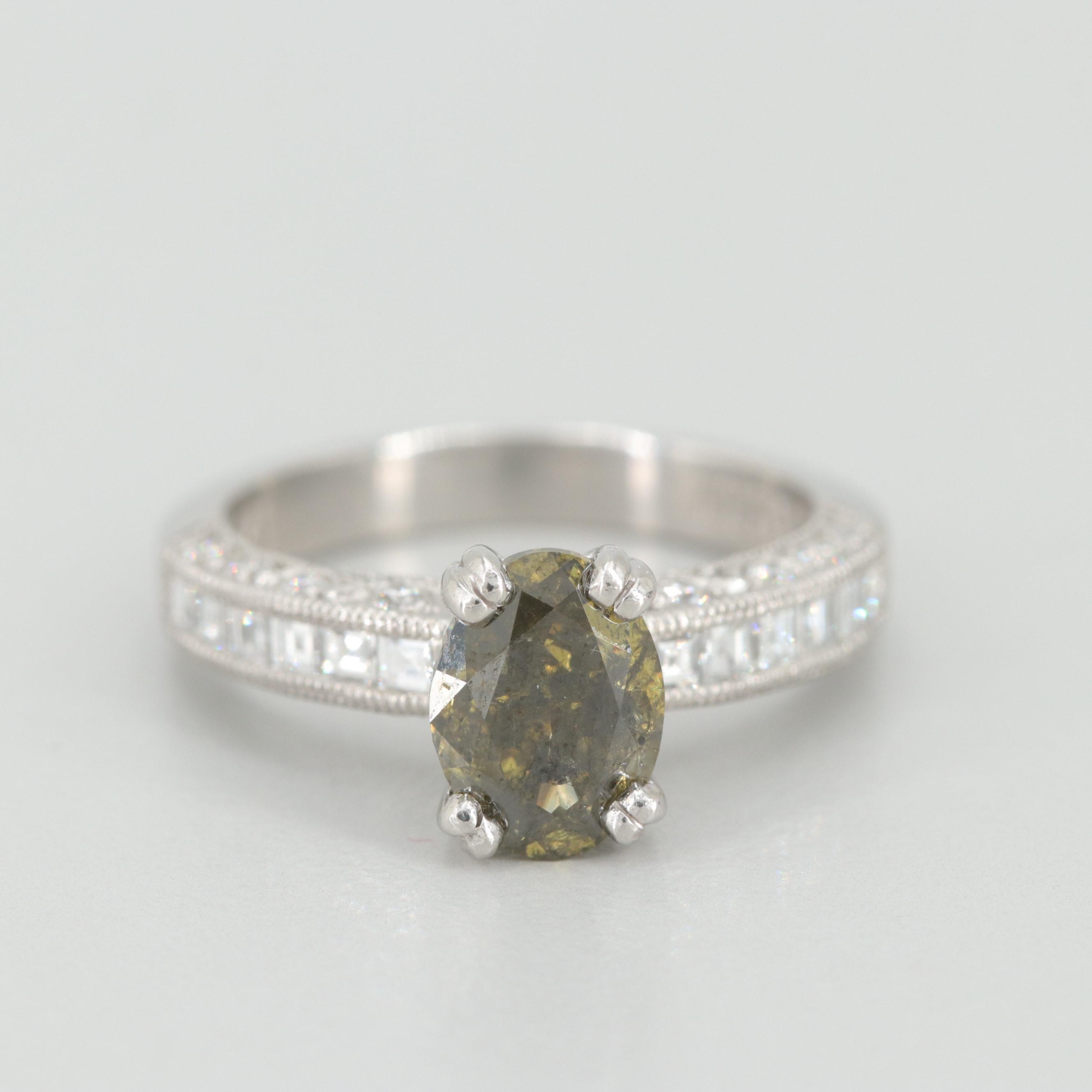 Tacori Platinum 2.39 CTW Fancy DGY Green Diamond Ring with GIA Report