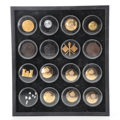 Collection of Military Buttons and Pins with French
