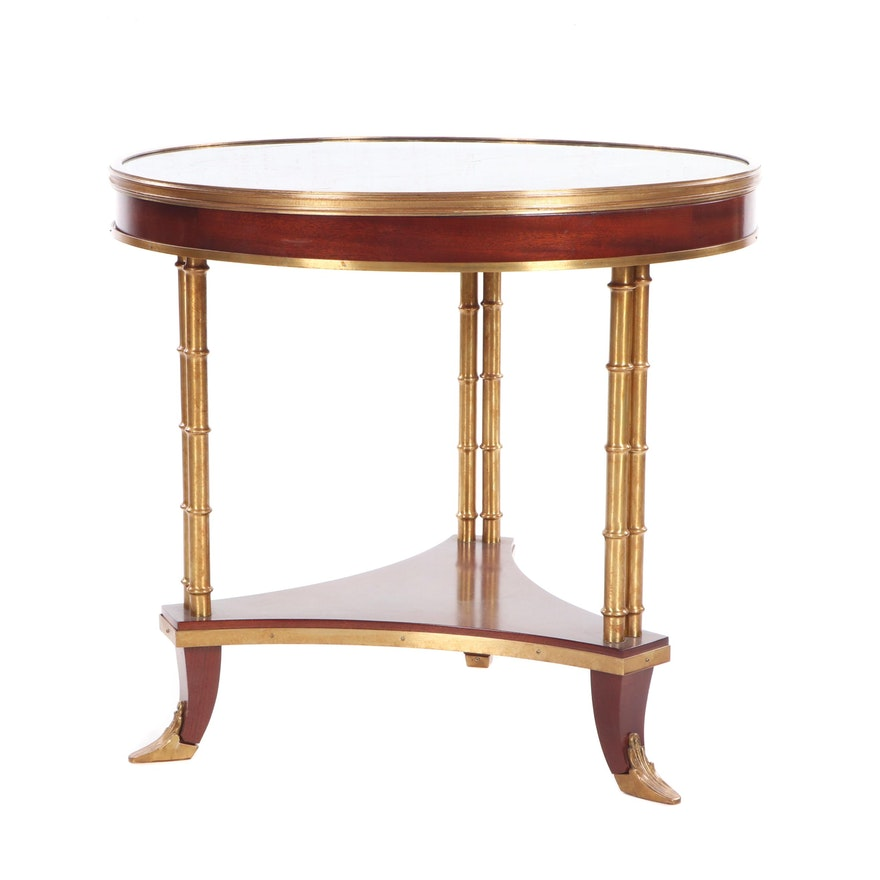Neoclassical Style Mahogany and Brass Marble-Top Occasional Table, 20th Century
