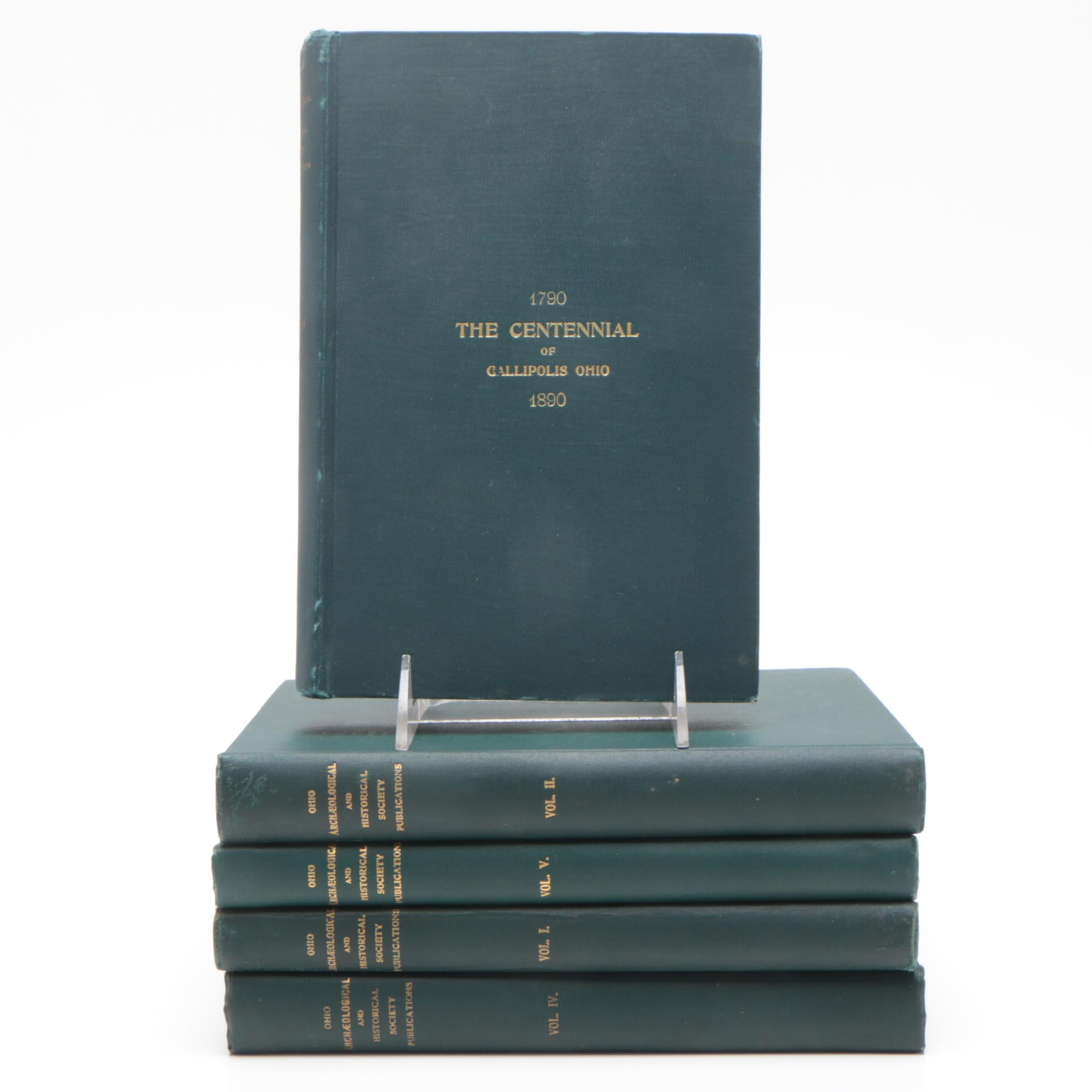 """Antiquarian """"Ohio Archæological and Historical Publications"""" 5 Volume Set"""