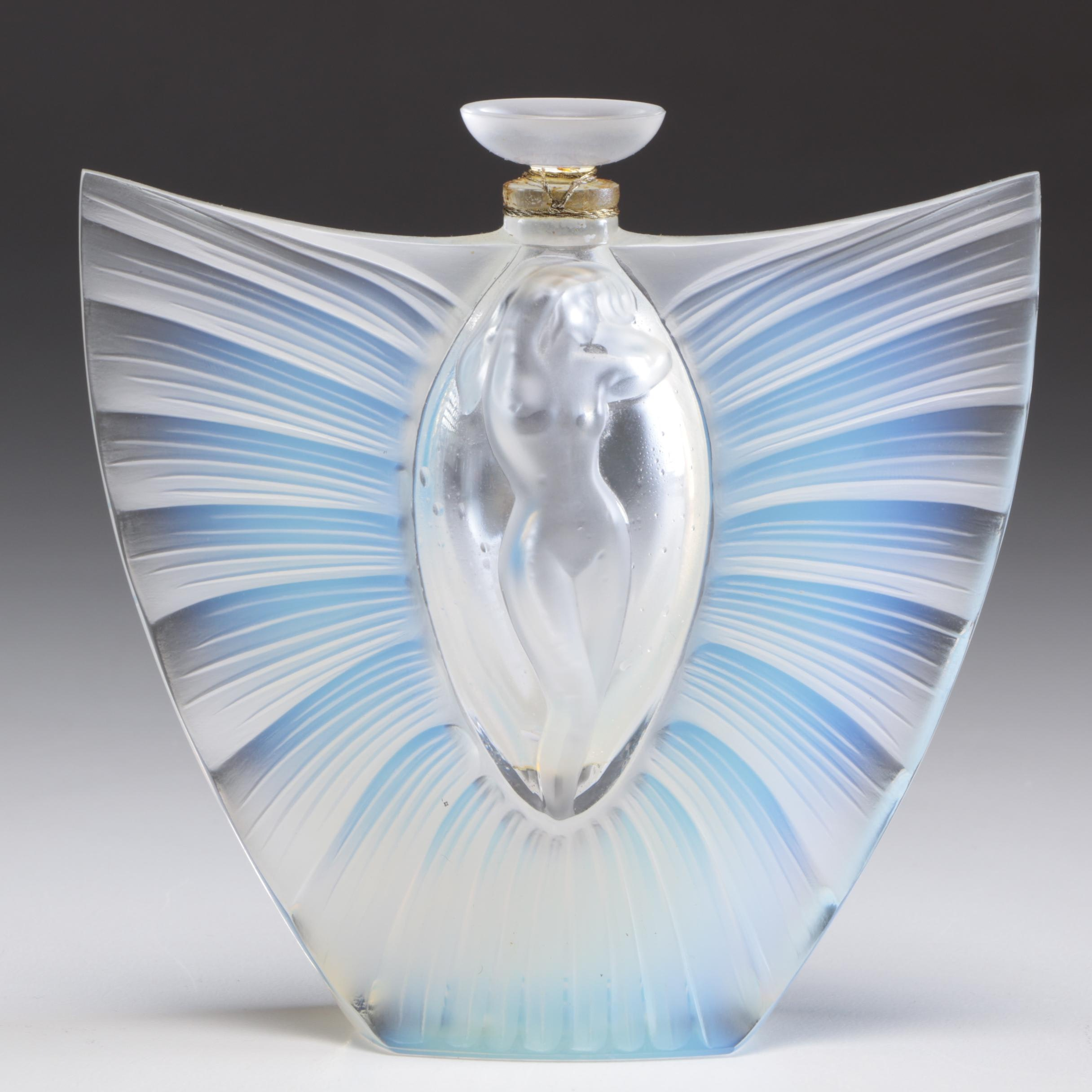 "Lalique France Crystal Art Glass Nude ""Sylphide"" Opalescent Perfume Bottle"