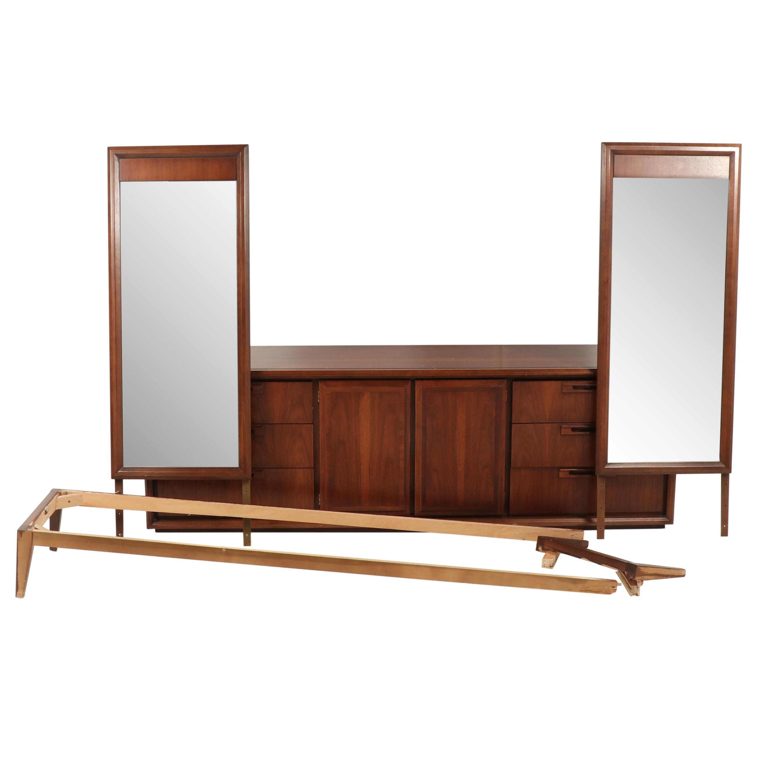 United Furniture Mid Century Modern Walnut Chest of Drawers with Mirrors