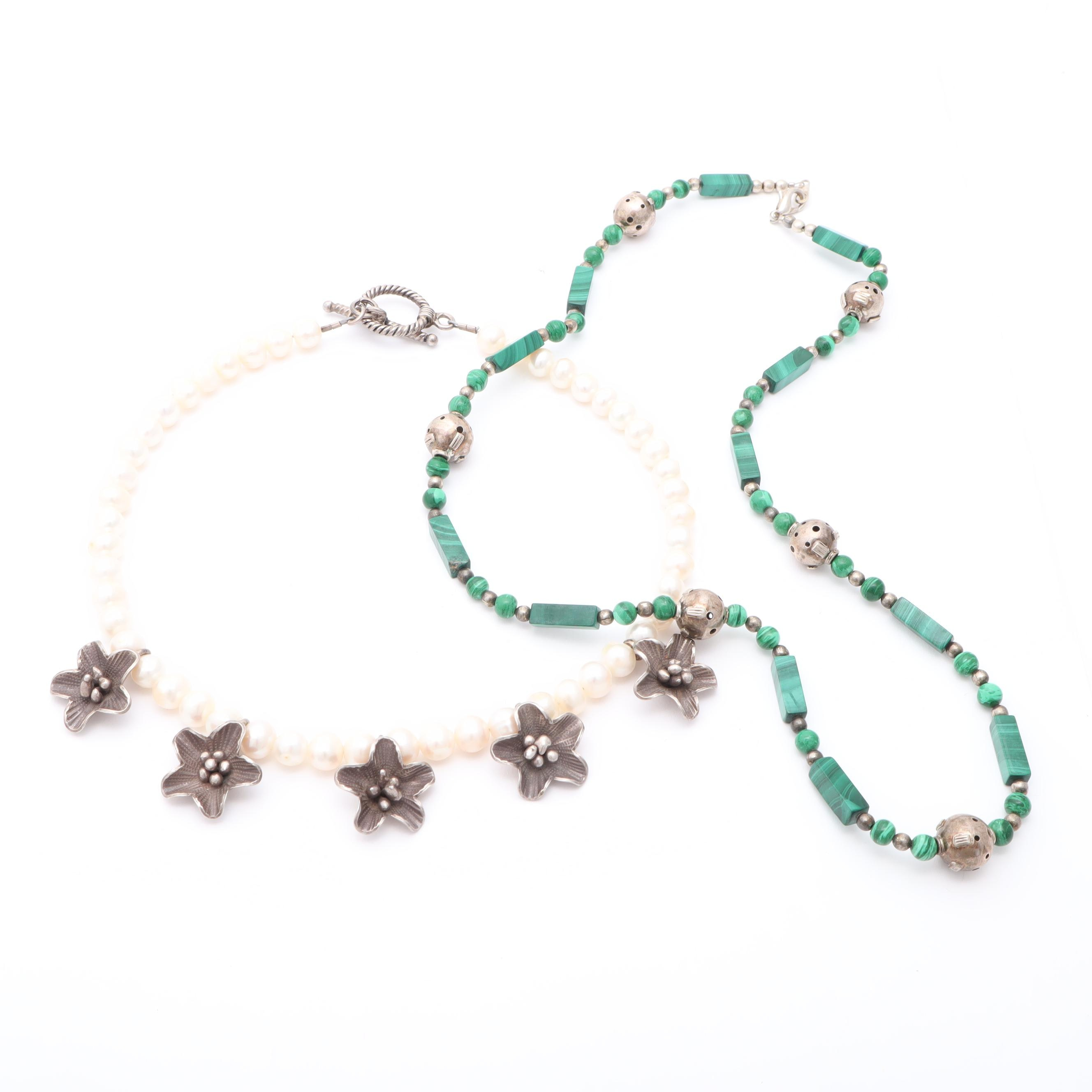 Sterling Silver Malachite and Cultured Freshwater Pearl Necklaces