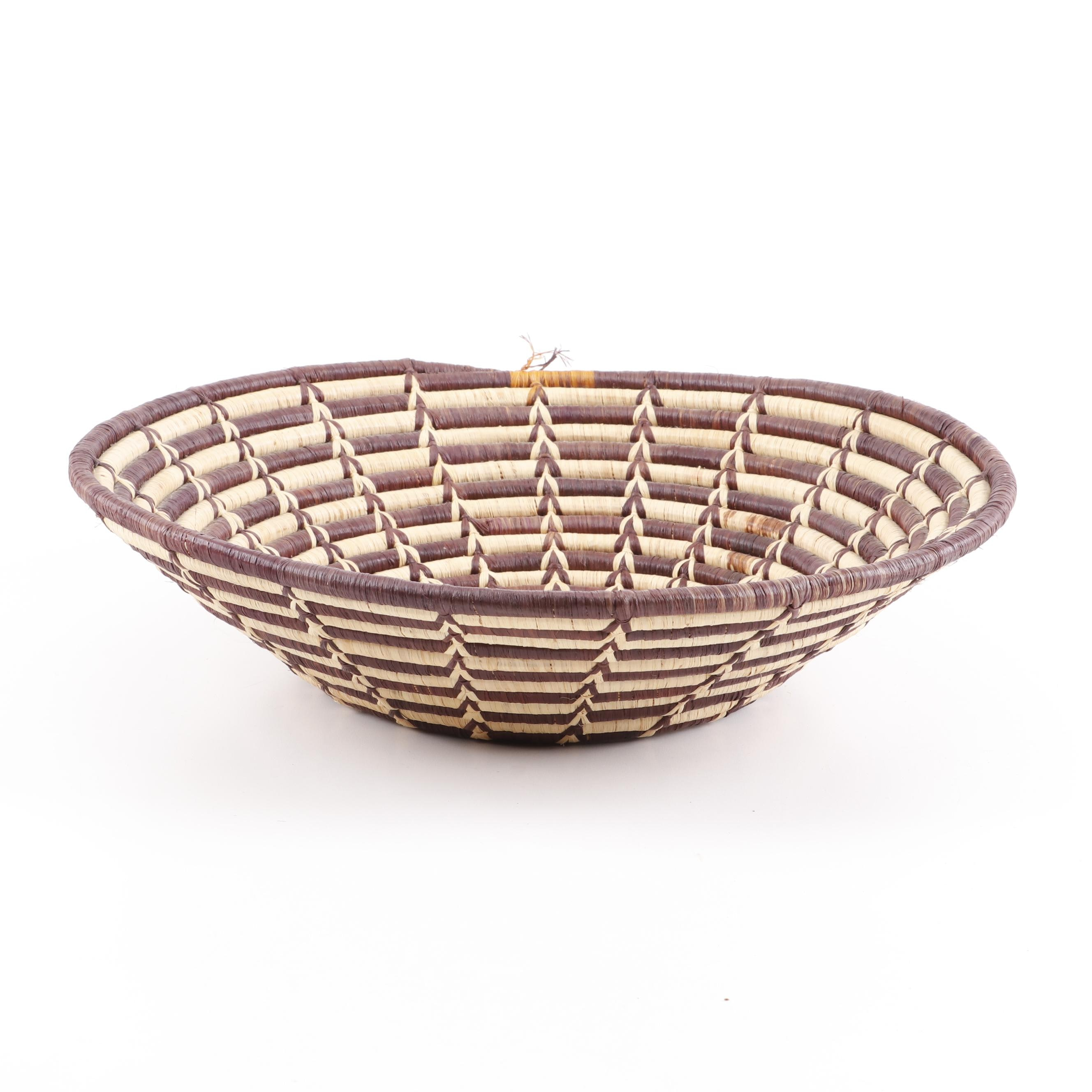 African Style Woven Coil Basket, Mid to Late 20th Century