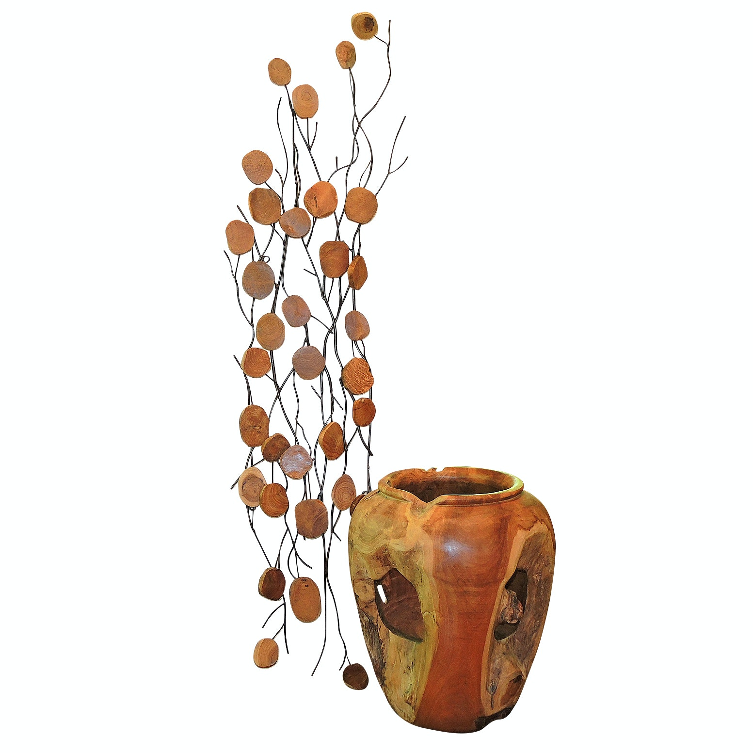 Natural Teak Root Decorative Planter and Polished Wood Medallion Wall Sculpture