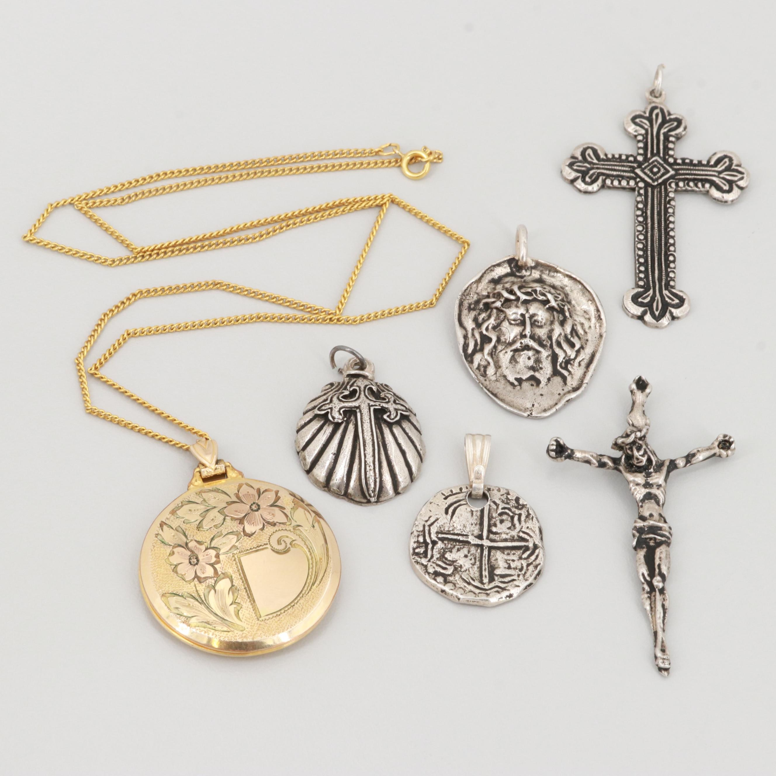 Sterling Silver Crucifix, Cross Pendant Assortment and Gold Tone Locket Necklace
