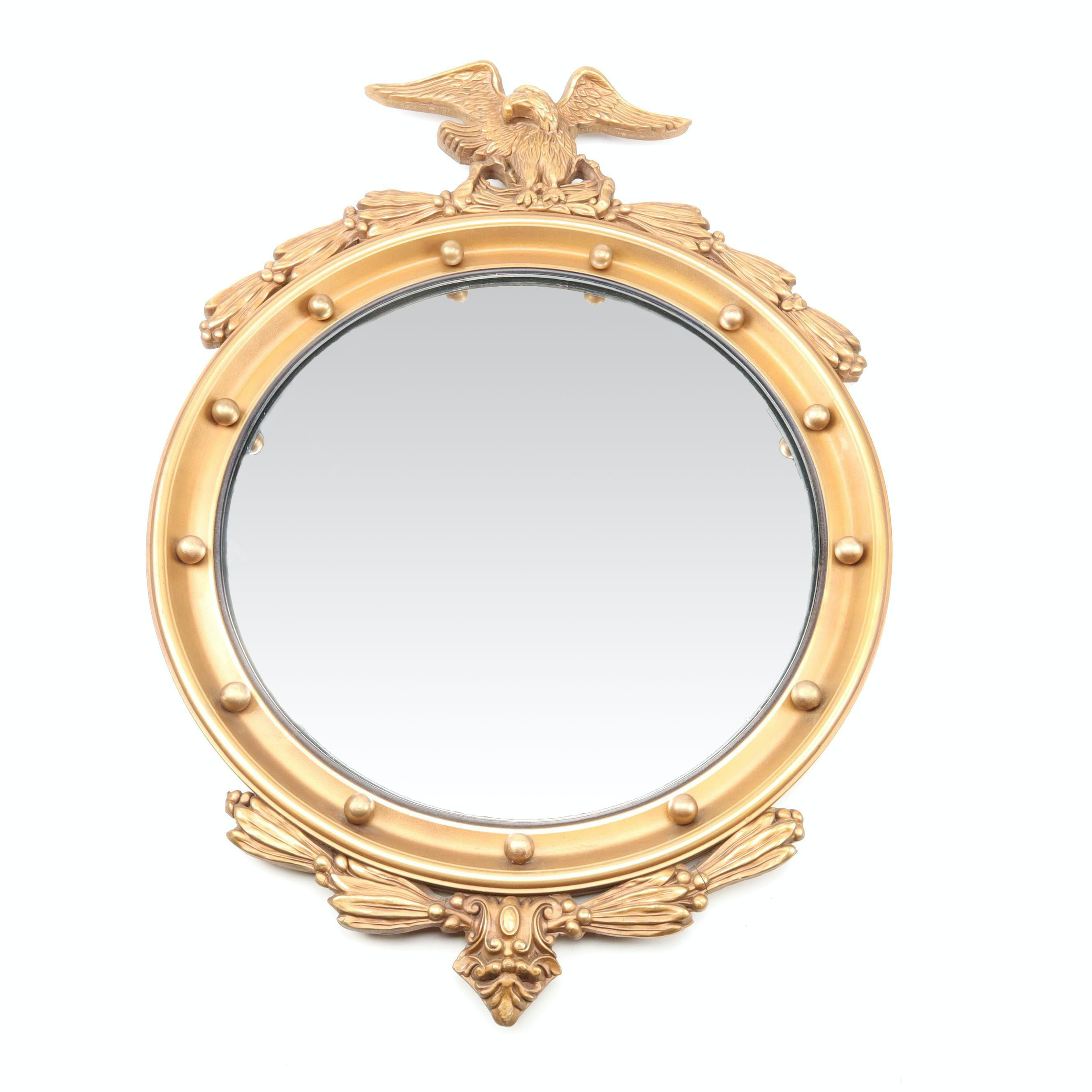 Federal Style Convex Mirror with Eagle Crest
