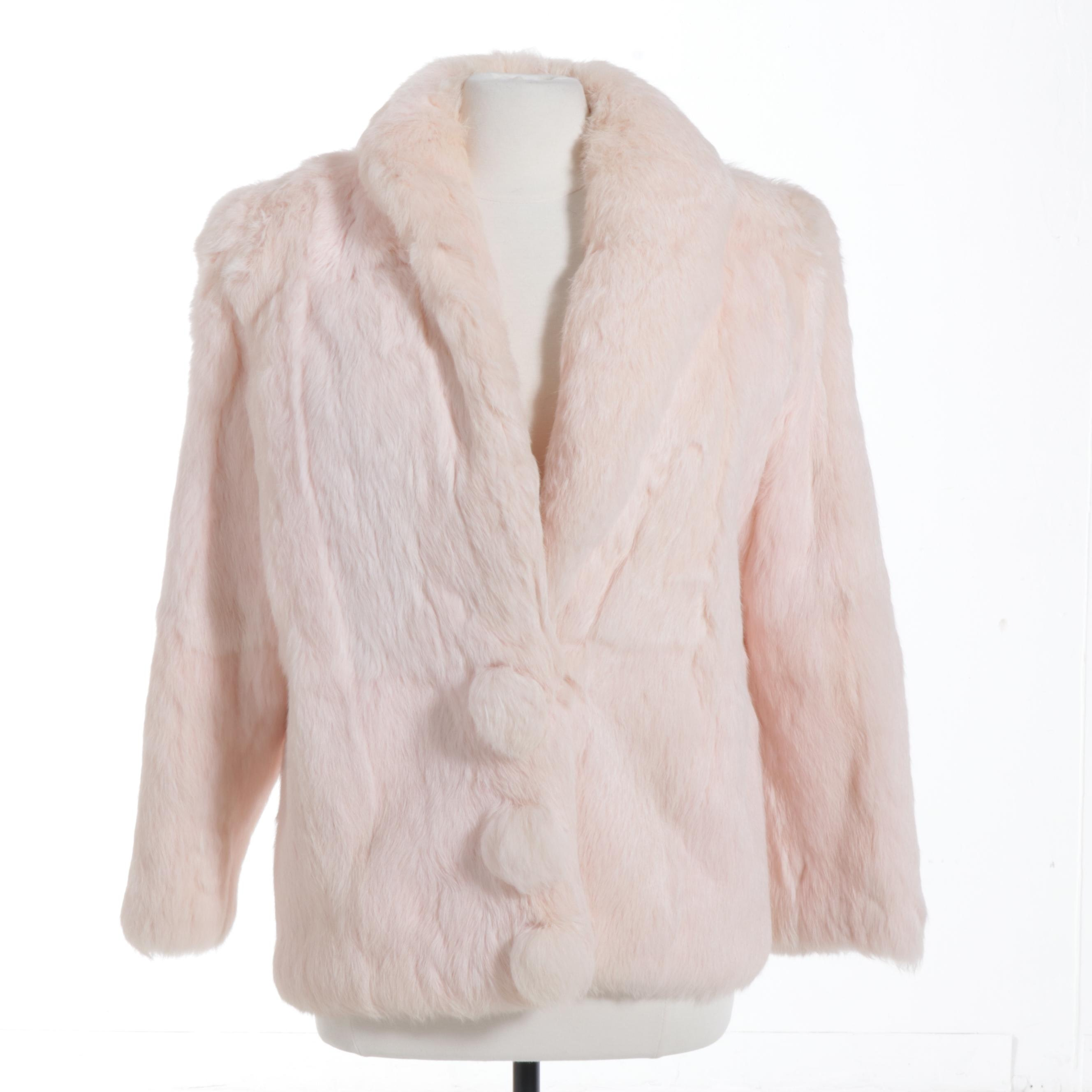 Pink Dyed Rabbit Fur Coat with Satin Lining