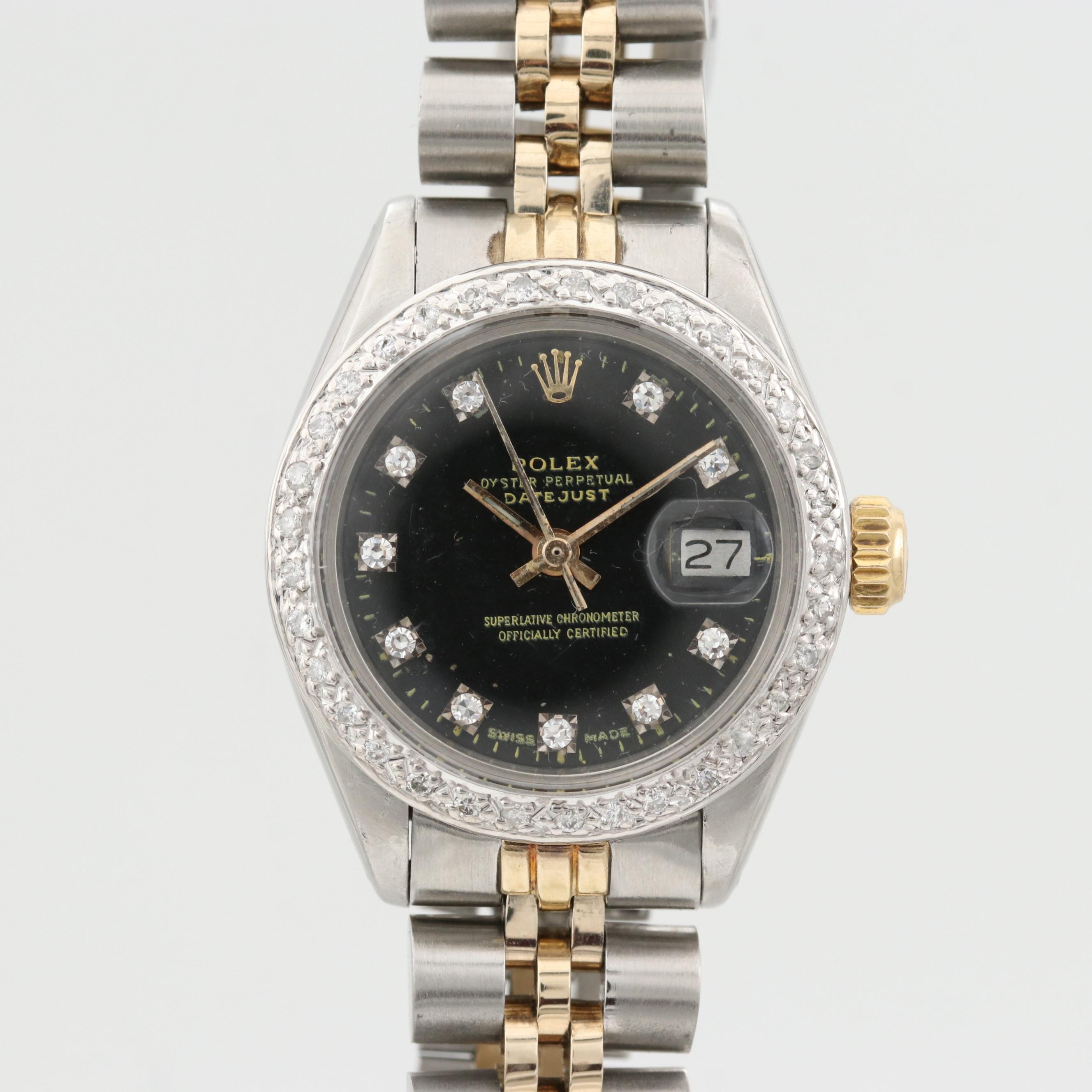 Rolex Datejust Wristwatch With Aftermarket Diamond Dial and Bezel, 1978