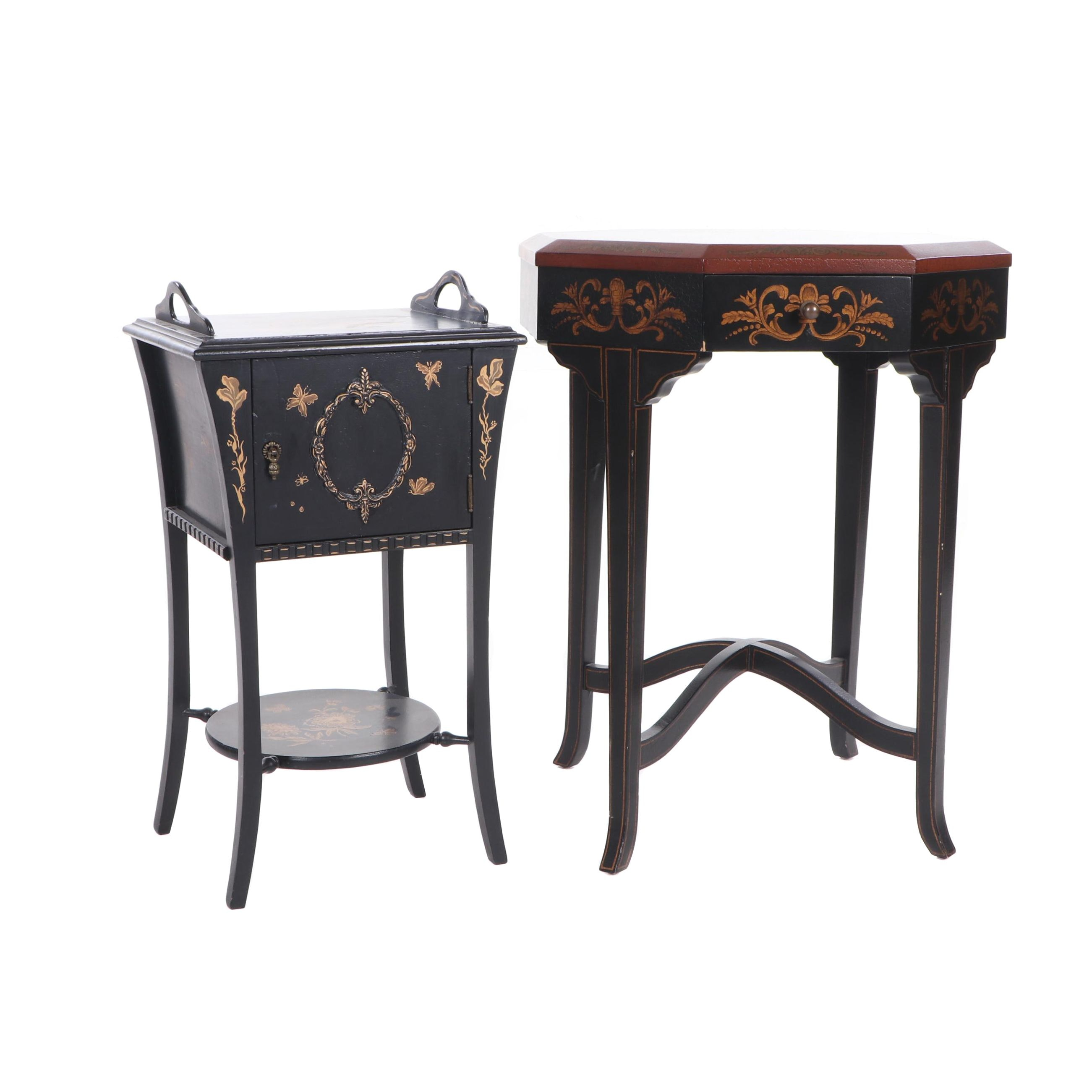 Lane Italianate Painted Leather Effect and Asian Inspired Side Tables