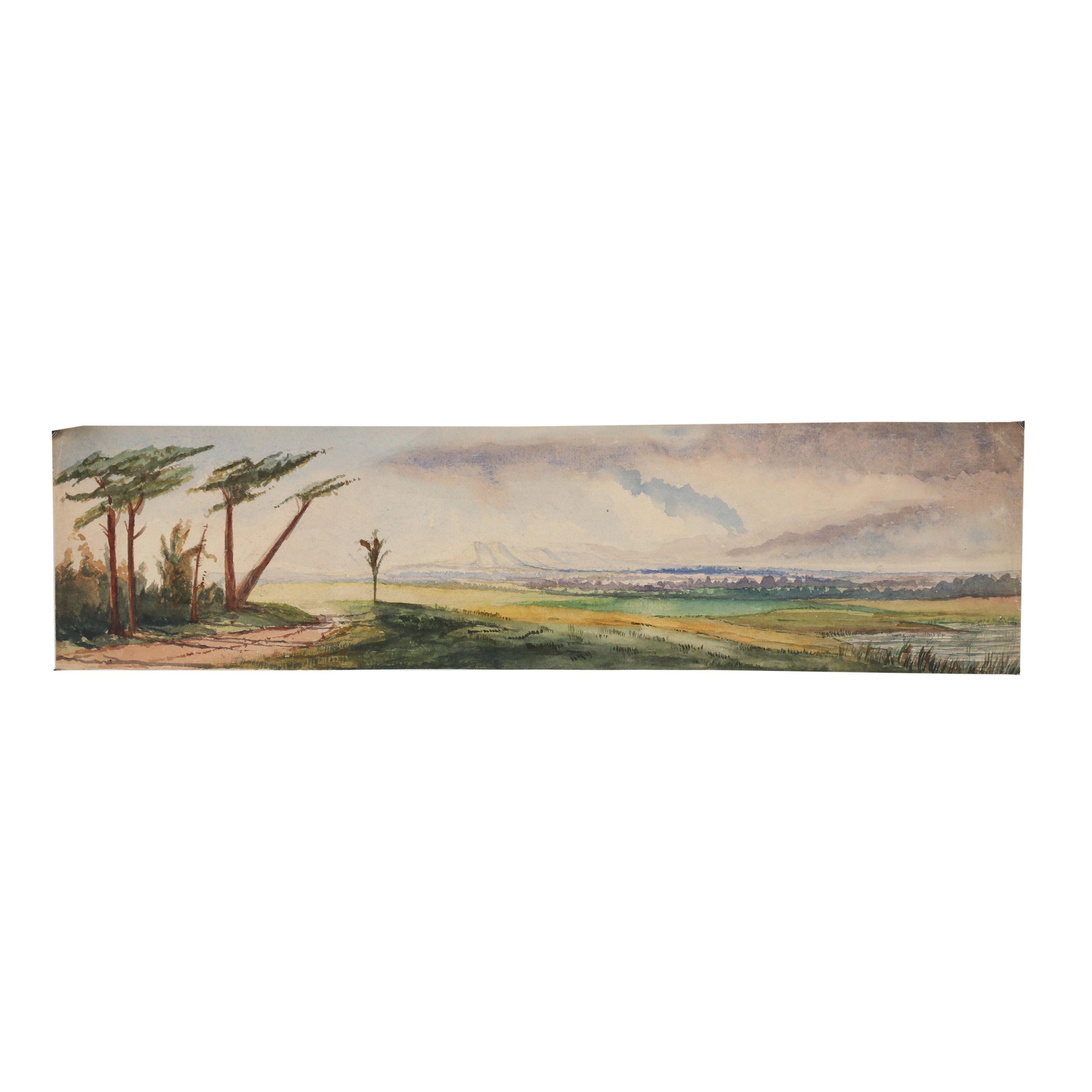 20th Century Landscape Watercolor Painting