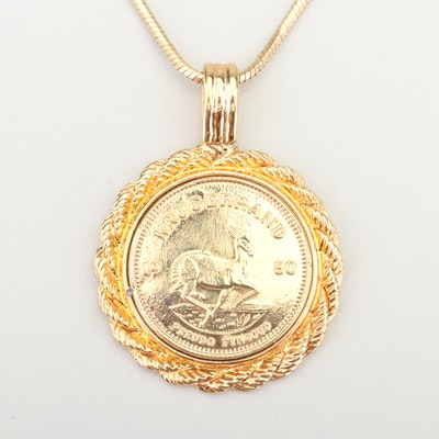 Yellow Gold Wash Replica South African Krugerrand Coin Necklace