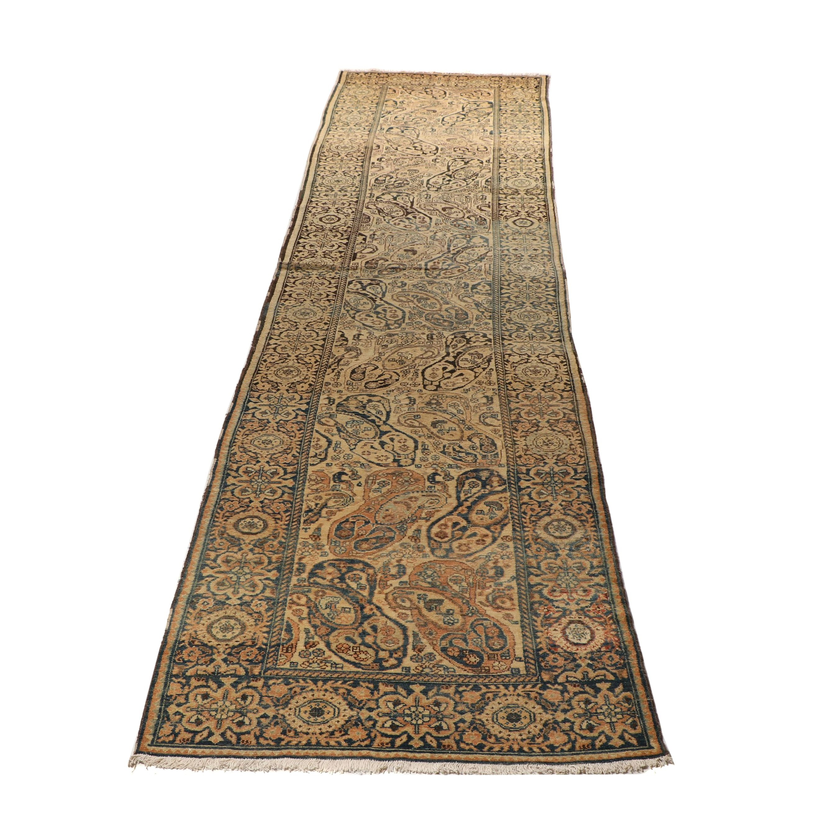 """Hand-Knotted Persian Malayer Wool Mir """"Mother-Daughter Boteh"""" Carpet Runner"""