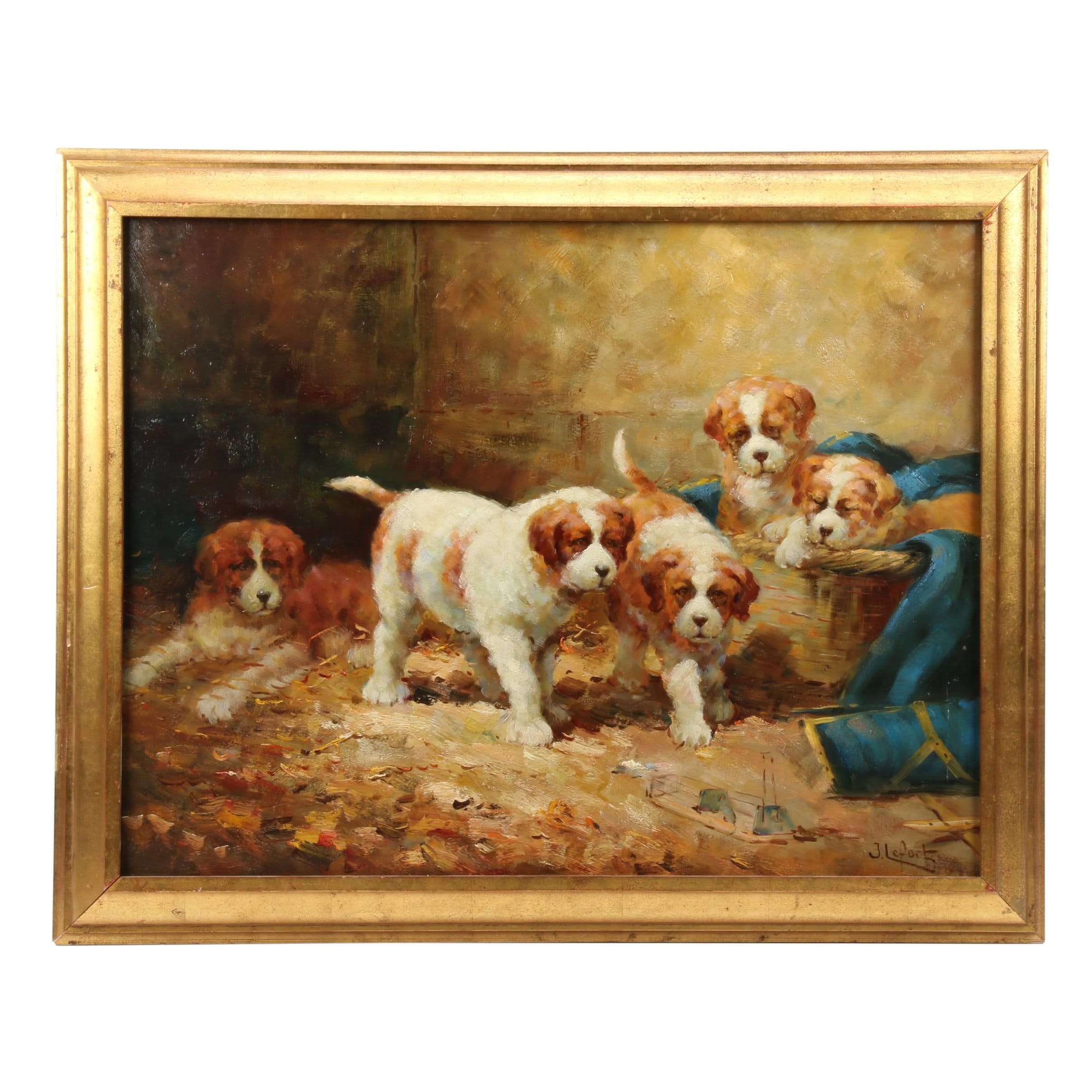 "Jean Lefort Oil Painting ""The Sleepy Puppies"""