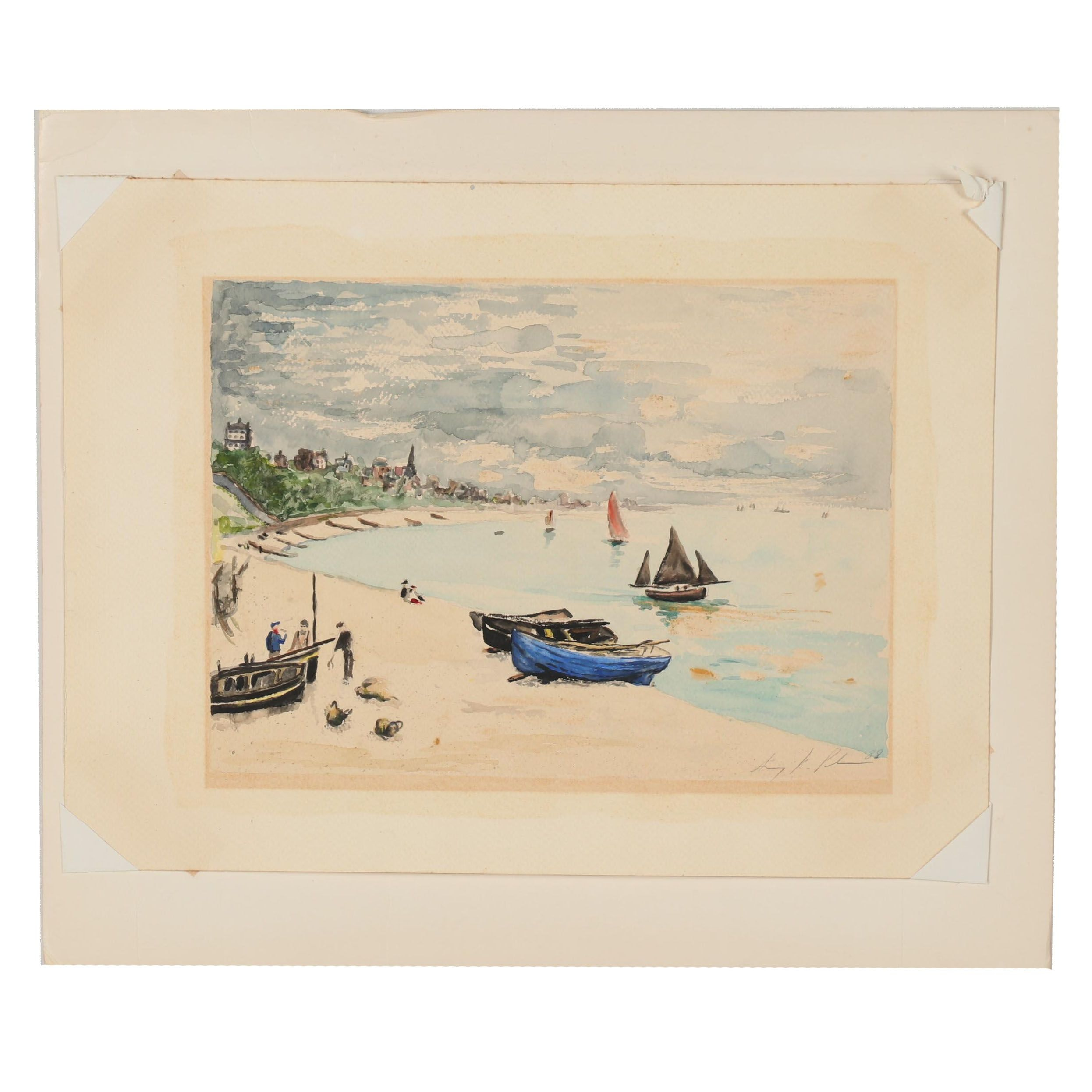 Late 20th Century Watercolor Painting of a Beach Scene