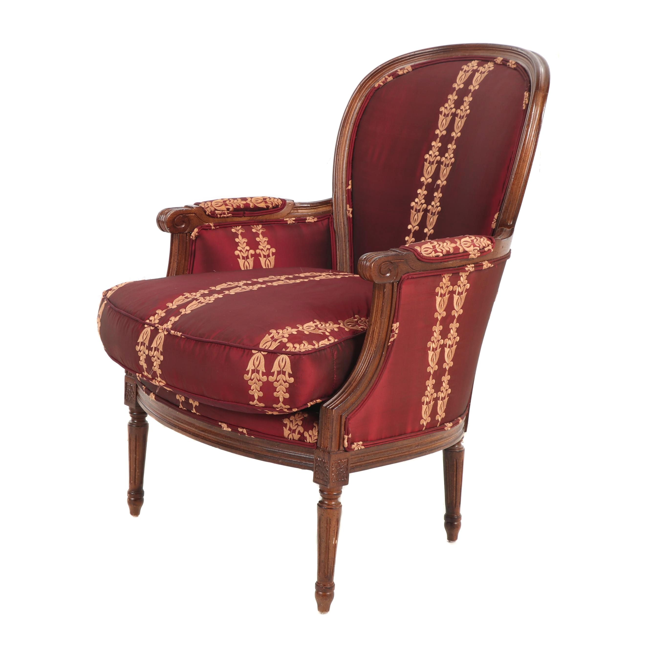 Contemporary Maroon & Gold Upholstered Louis XVI Style Wooden Bergere Armchair