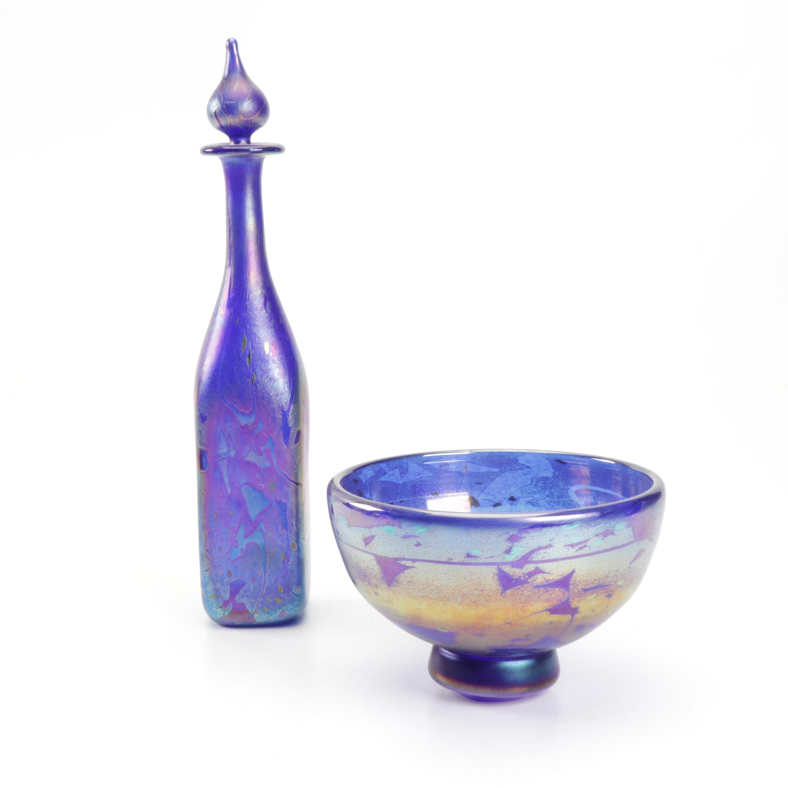 Mtarfa Luster Glass Bowl and Decanter